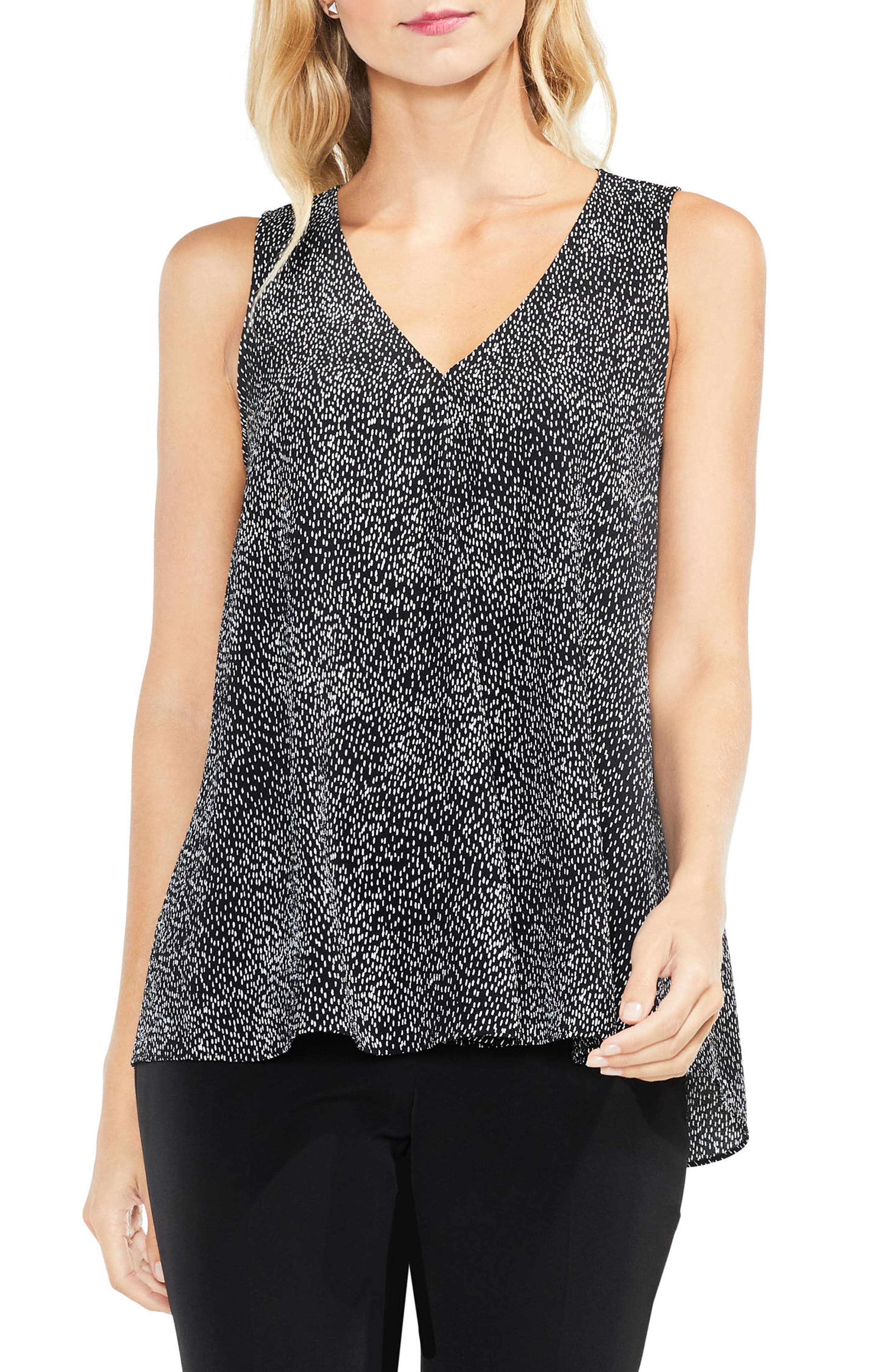 Dashes Sleeveless Drape Front Top,                         Main,                         color, 010