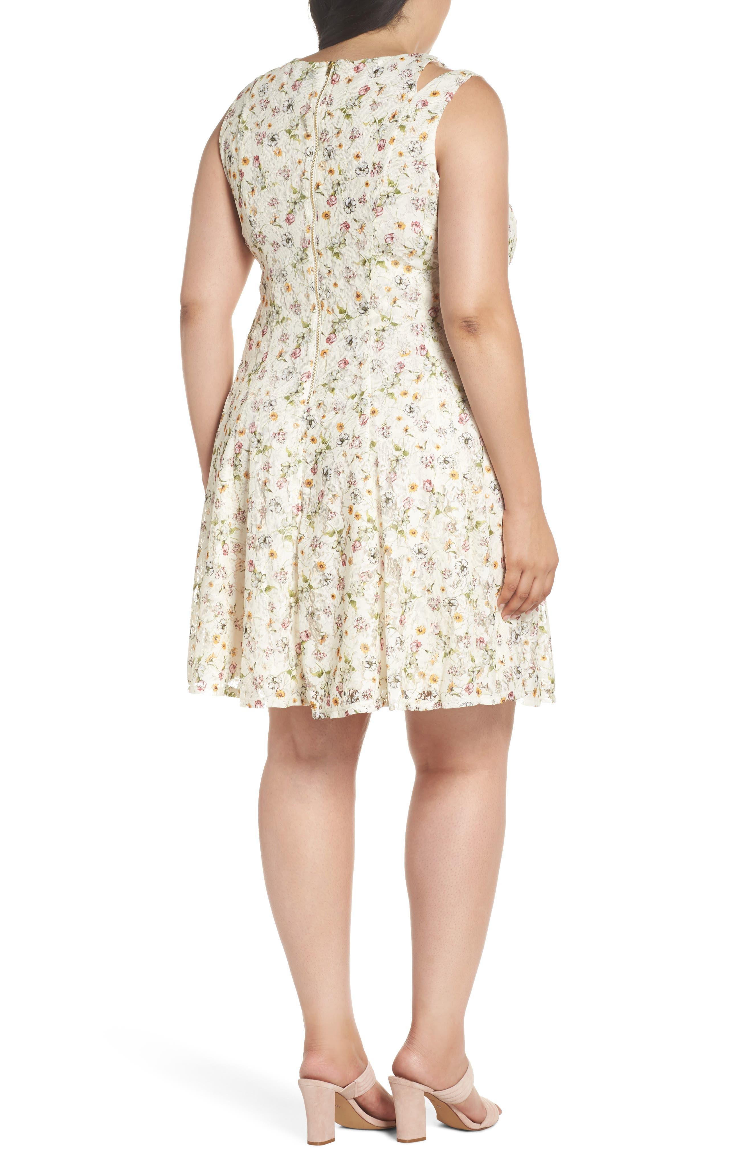 Cutout Shoulder Floral Print Lace Dress,                             Alternate thumbnail 2, color,                             111