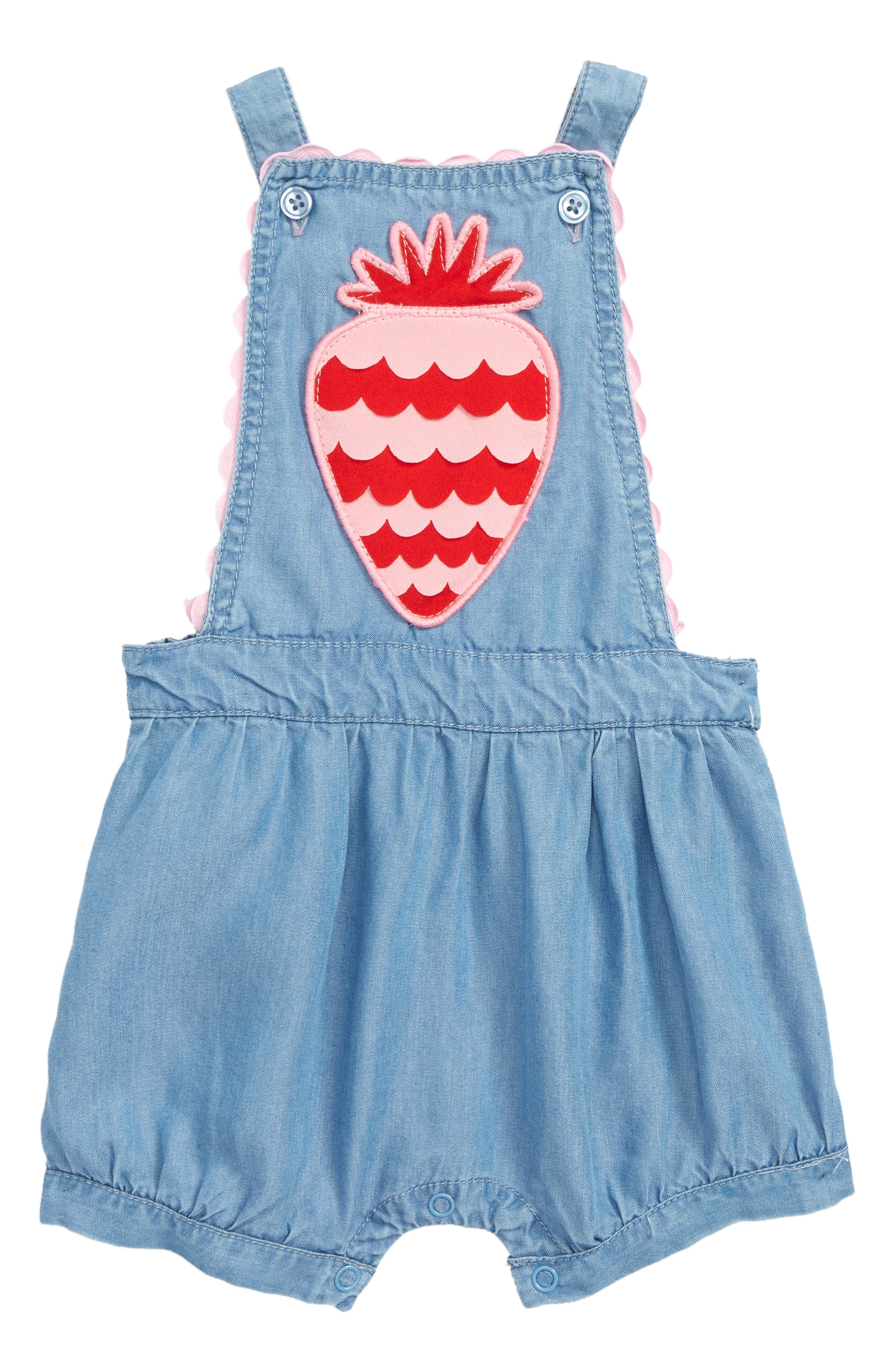 Scallop Strawberry Chambray Romper,                             Main thumbnail 1, color,                             SUMMER BLUE