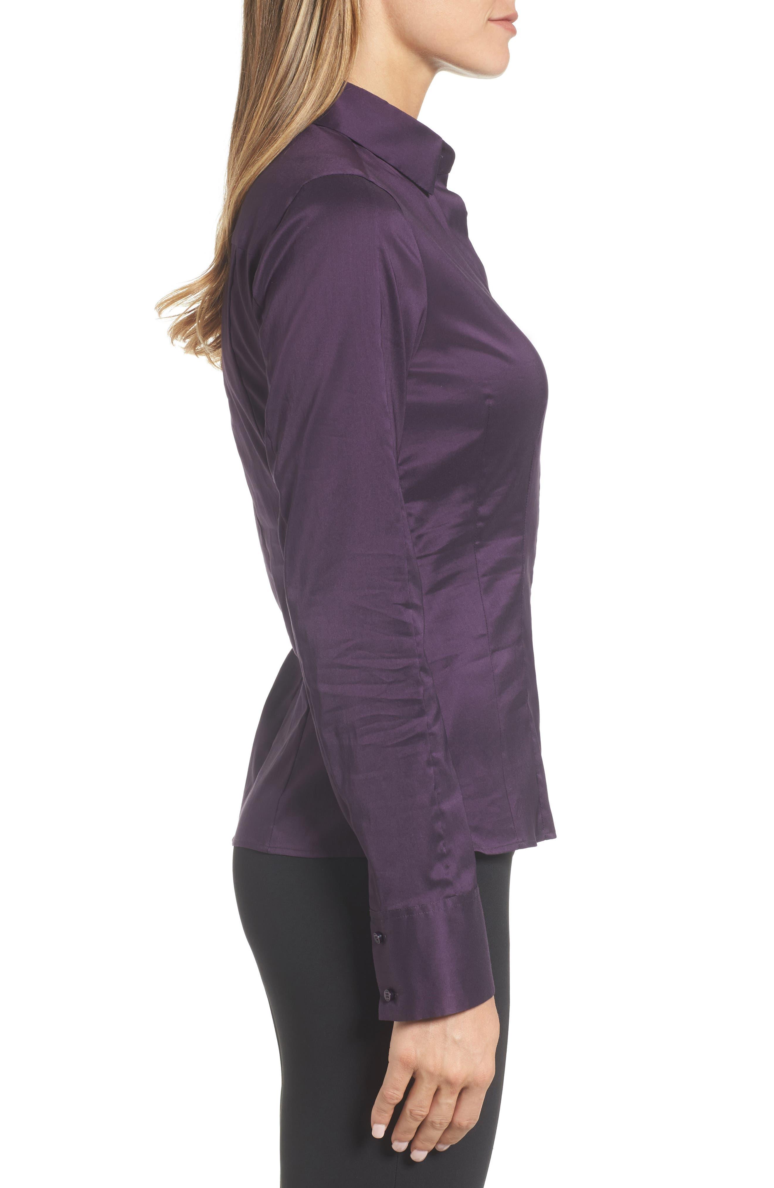 Bashina Fitted Stretch Poplin Shirt,                             Alternate thumbnail 6, color,