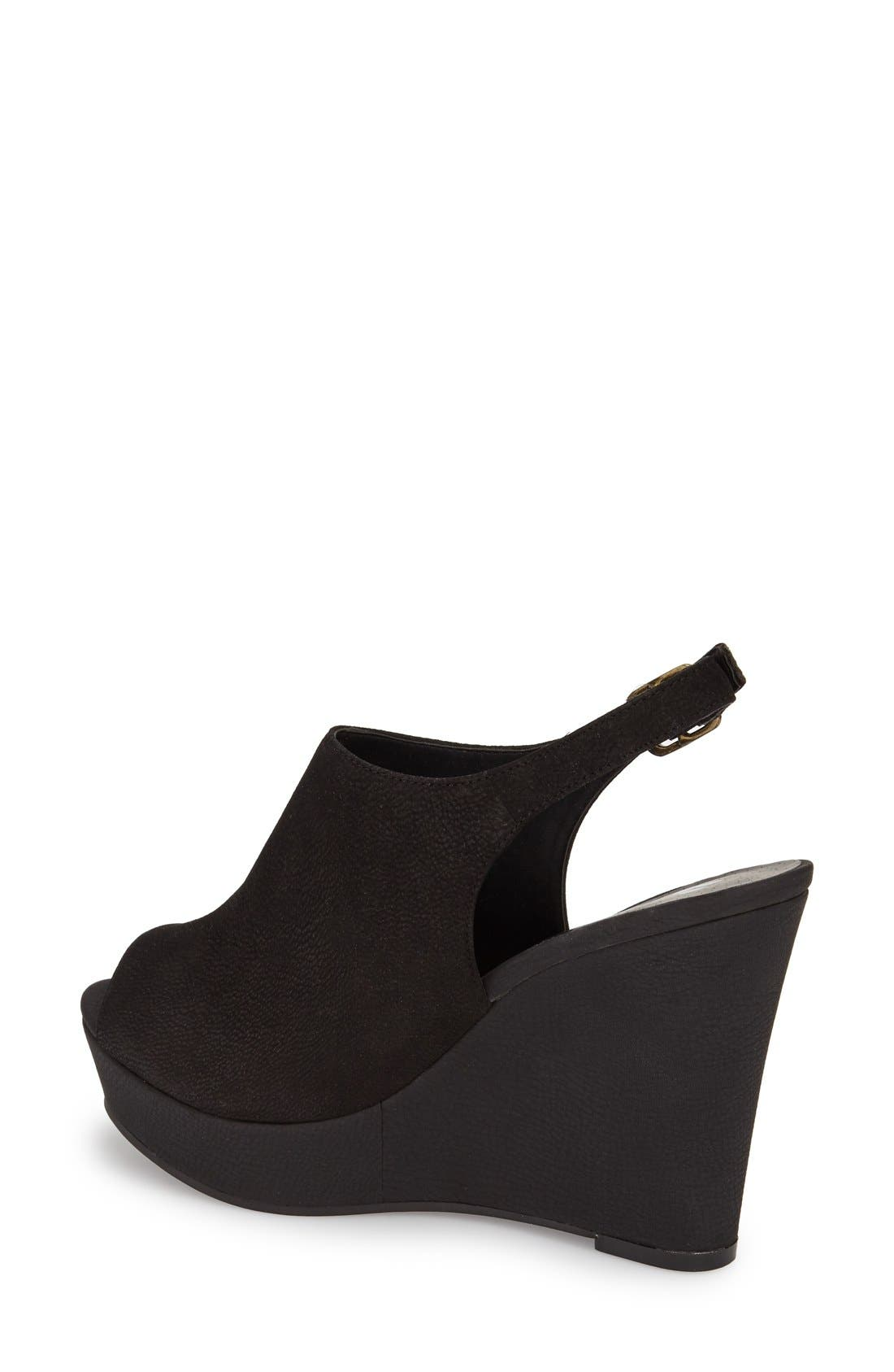 'Roundabout' Slingback Peep Toe Wedge,                             Alternate thumbnail 3, color,                             001