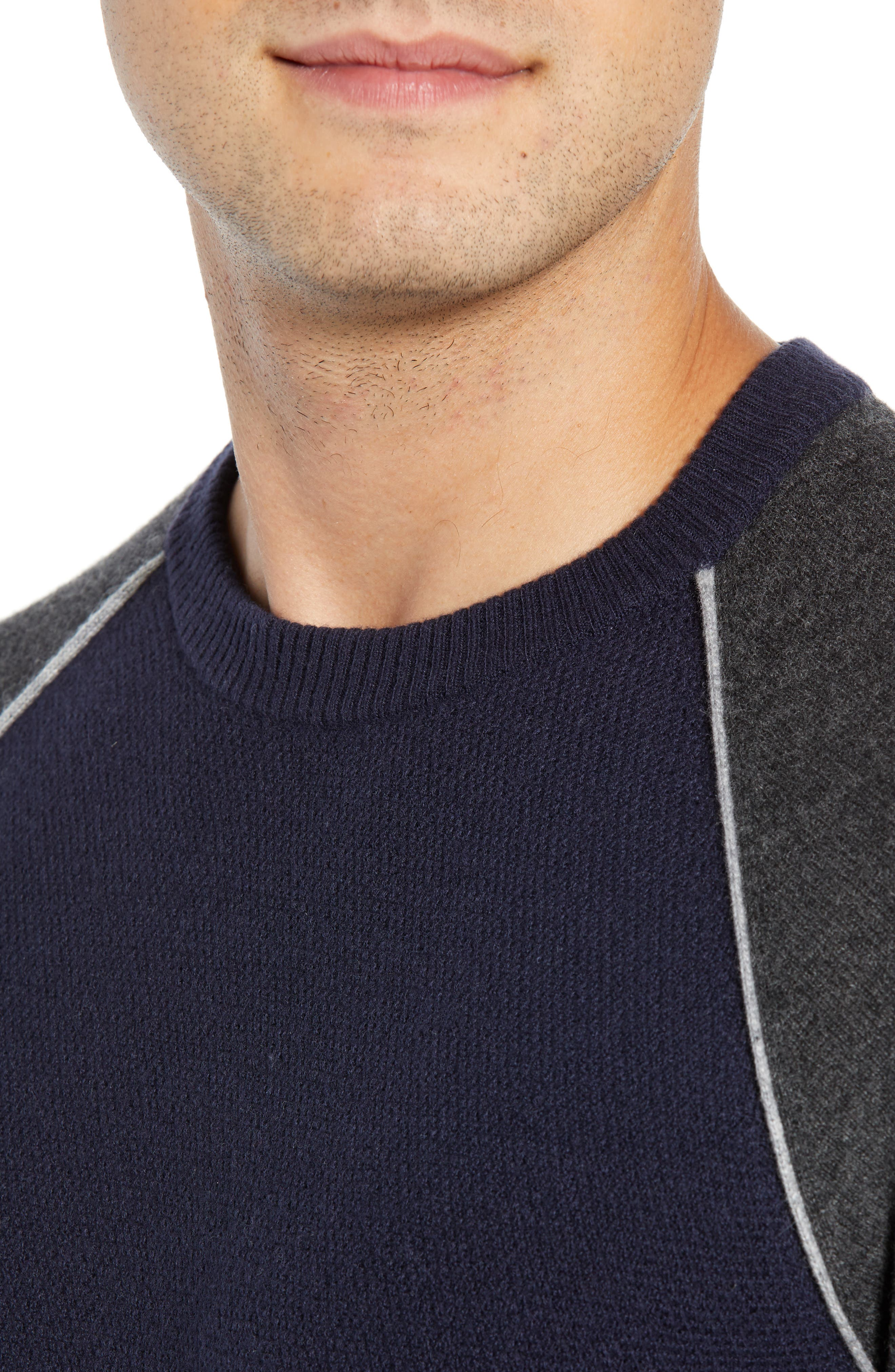 Active Crewneck Wool & Cashmere Sweater,                             Alternate thumbnail 4, color,                             NAVY