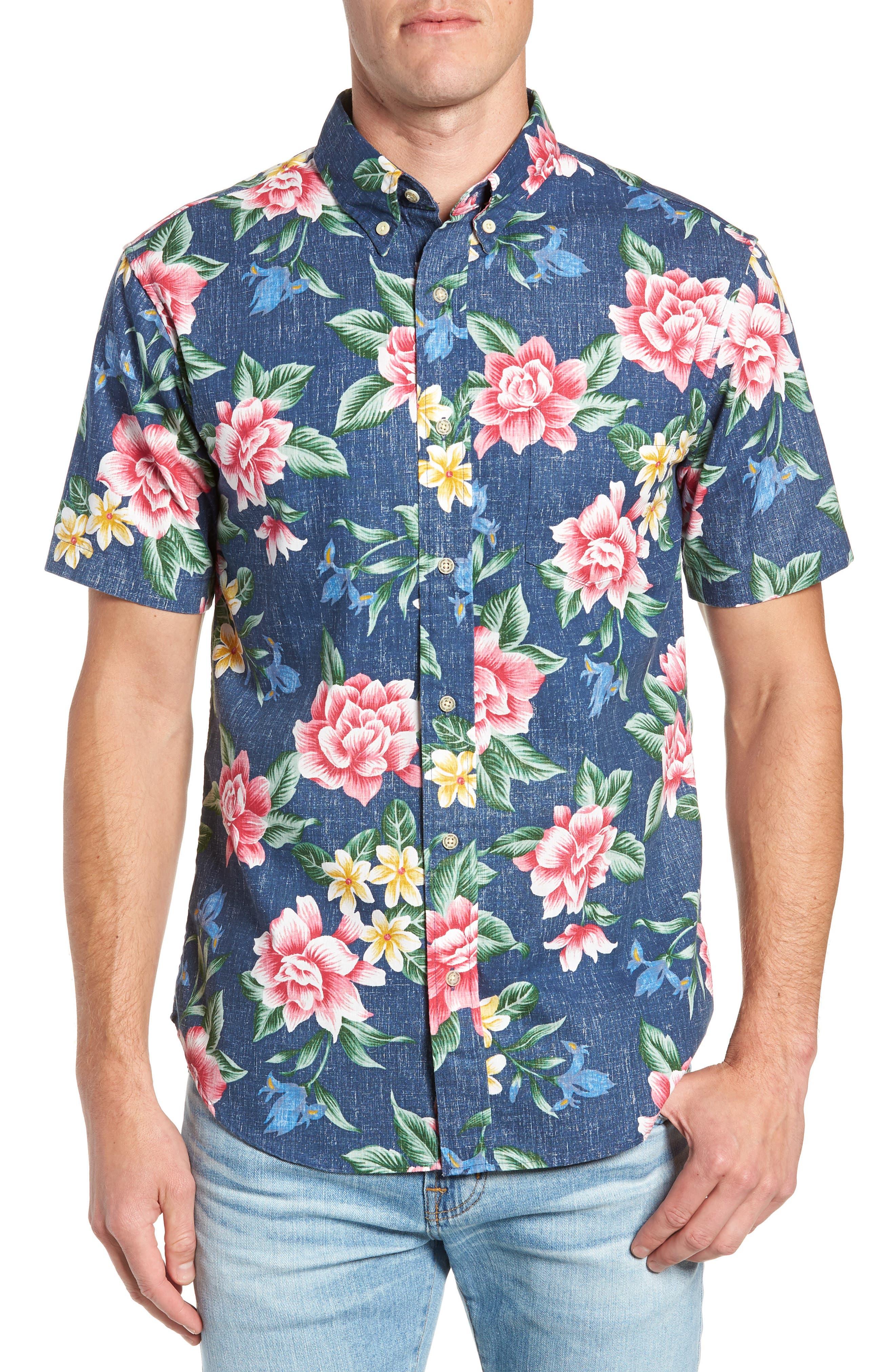 Hou Pua Nui Regular Fit Sport Shirt,                             Main thumbnail 1, color,                             INK