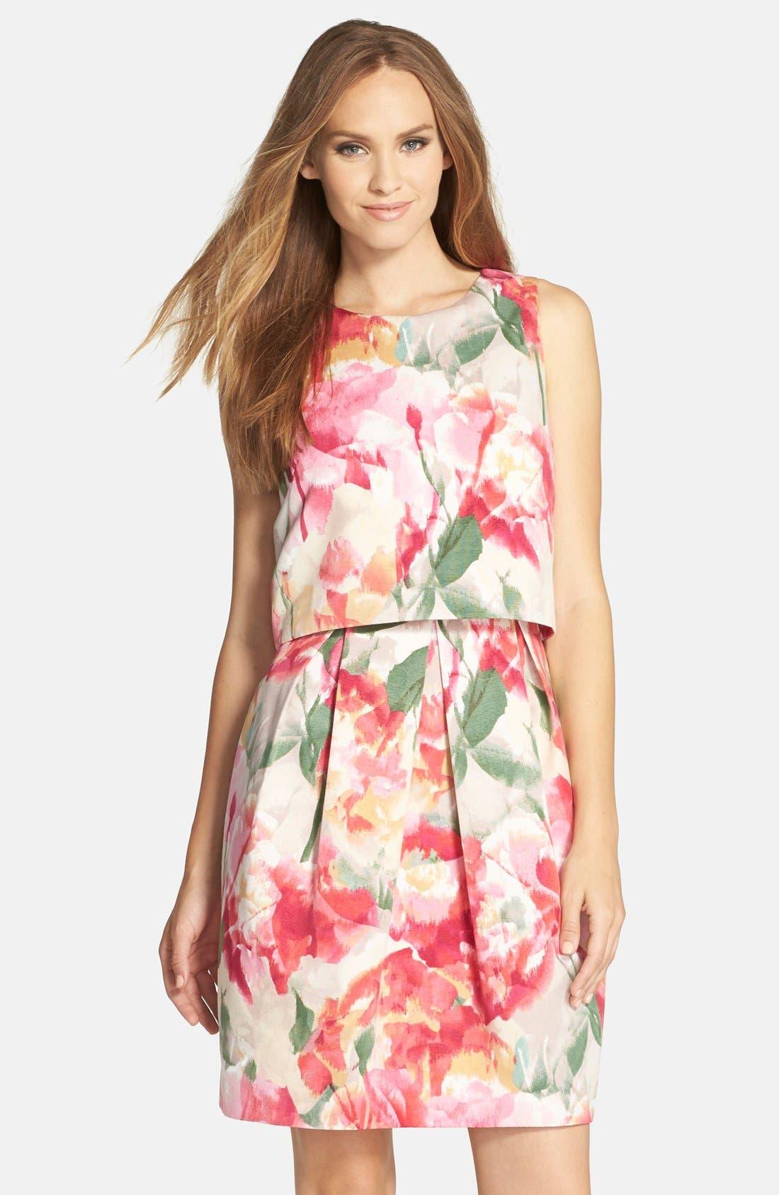 ELIZA J Floral Popover Sleeveless Sheath Dress, Main, color, 698