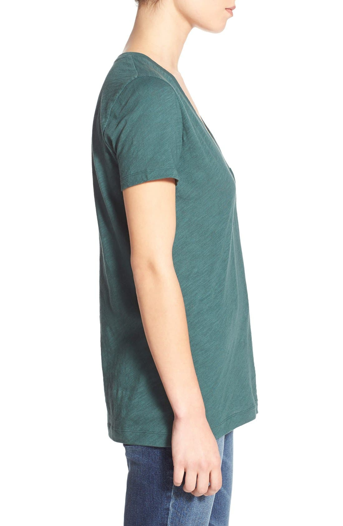 Whisper Cotton V-Neck Pocket Tee,                             Alternate thumbnail 146, color,