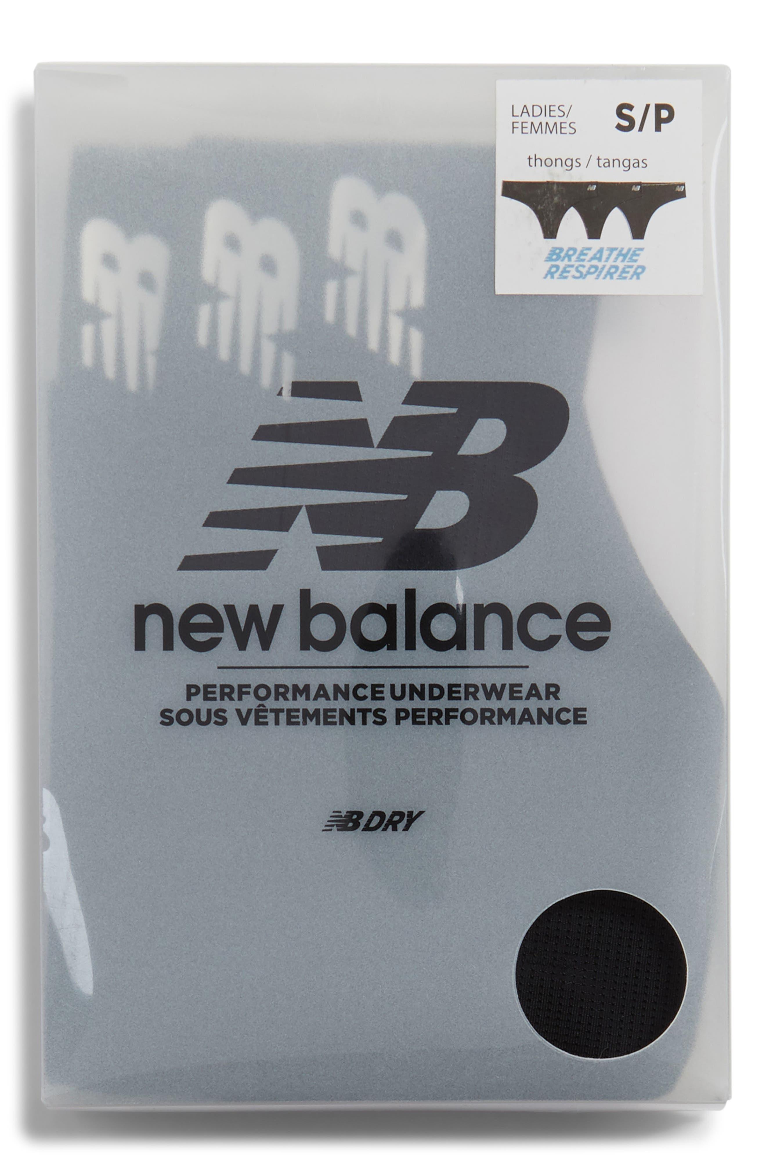 New Balance Breathe 3-Pack Thongs, Black
