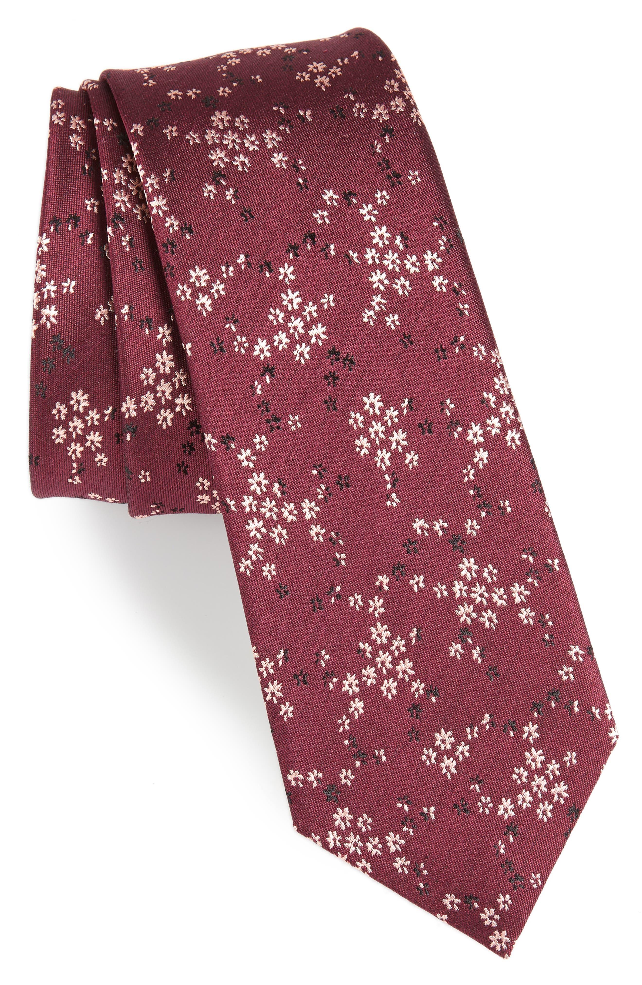 Floral Silk Tie,                         Main,                         color, BURGUNDY