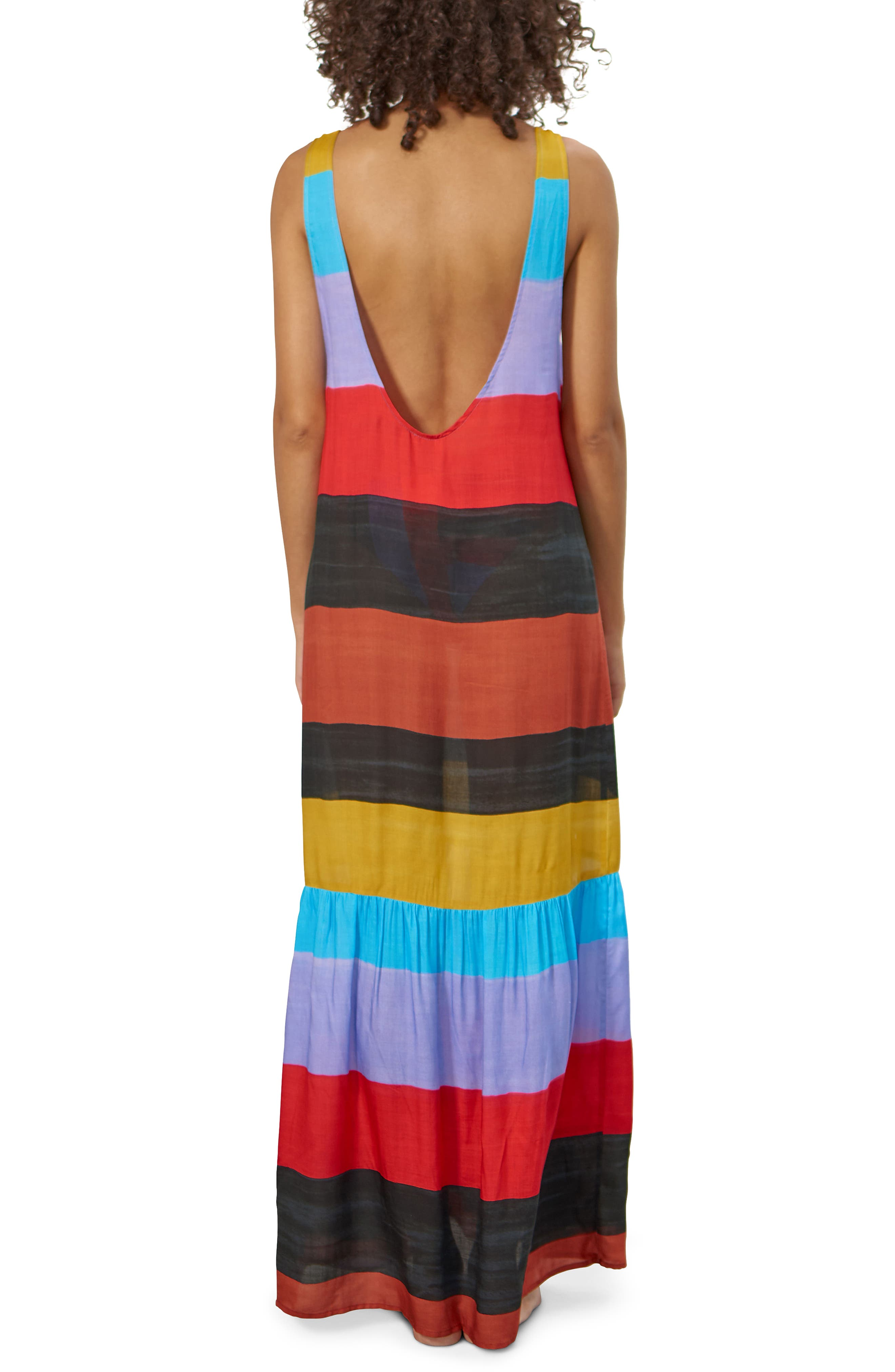 Valentina Stripe Cover-Up Dress,                             Alternate thumbnail 2, color,                             001