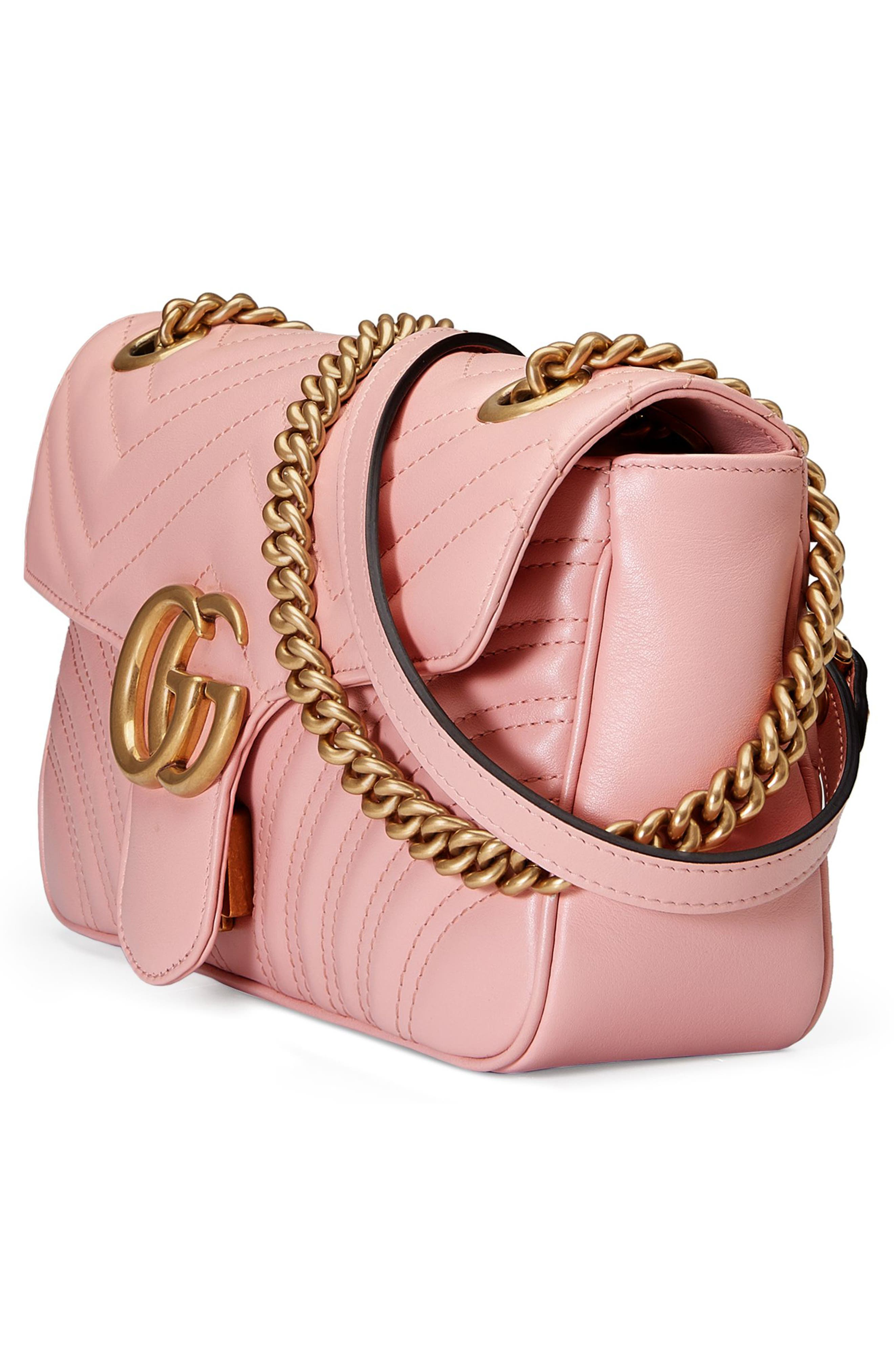 Small GG Marmont 2.0 Matelassé Leather Shoulder Bag,                             Alternate thumbnail 5, color,                             PERFECT PINK/ PERFECT PINK