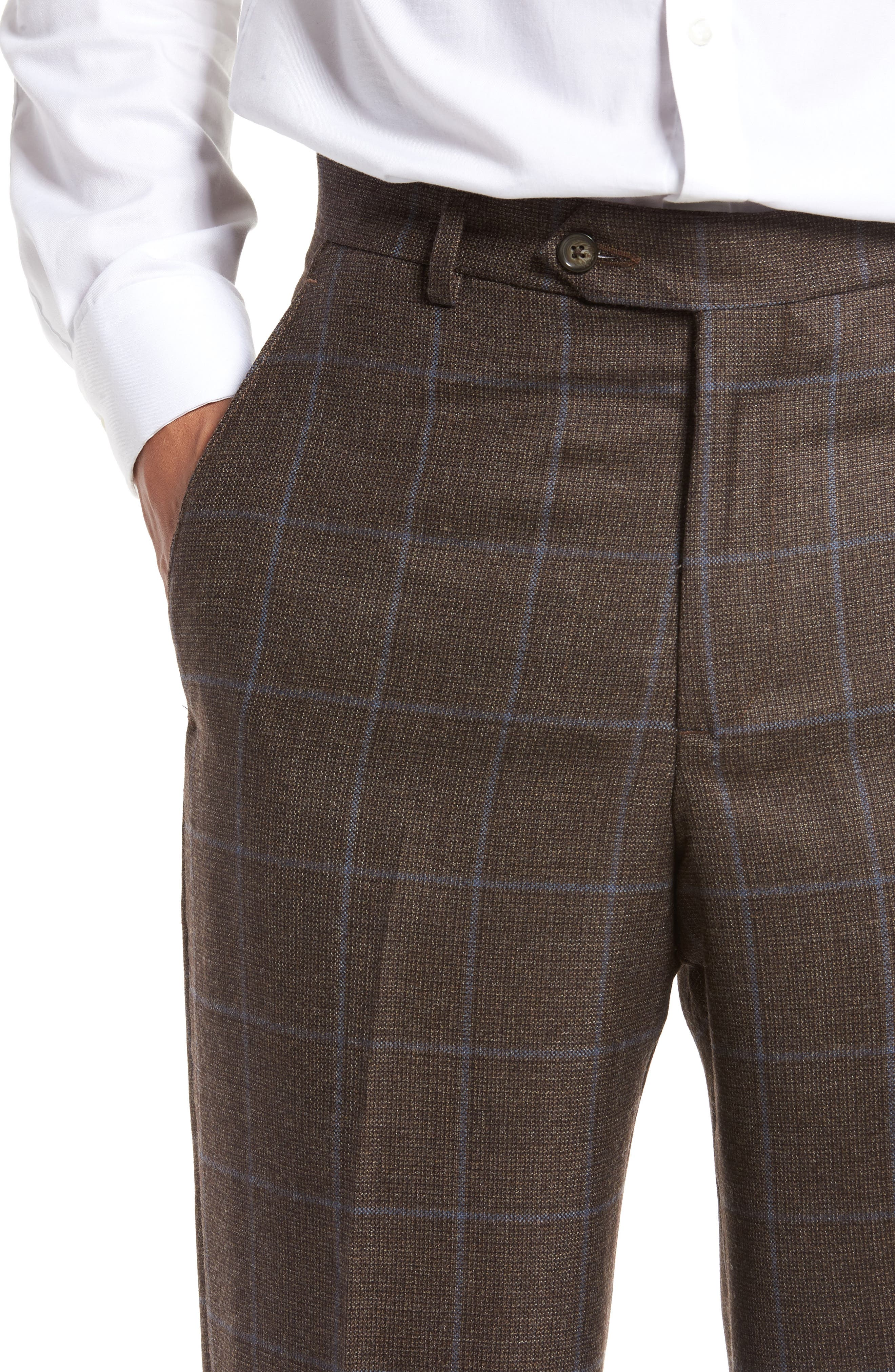 Flat Front Windowpane Wool Trousers,                             Alternate thumbnail 5, color,                             200