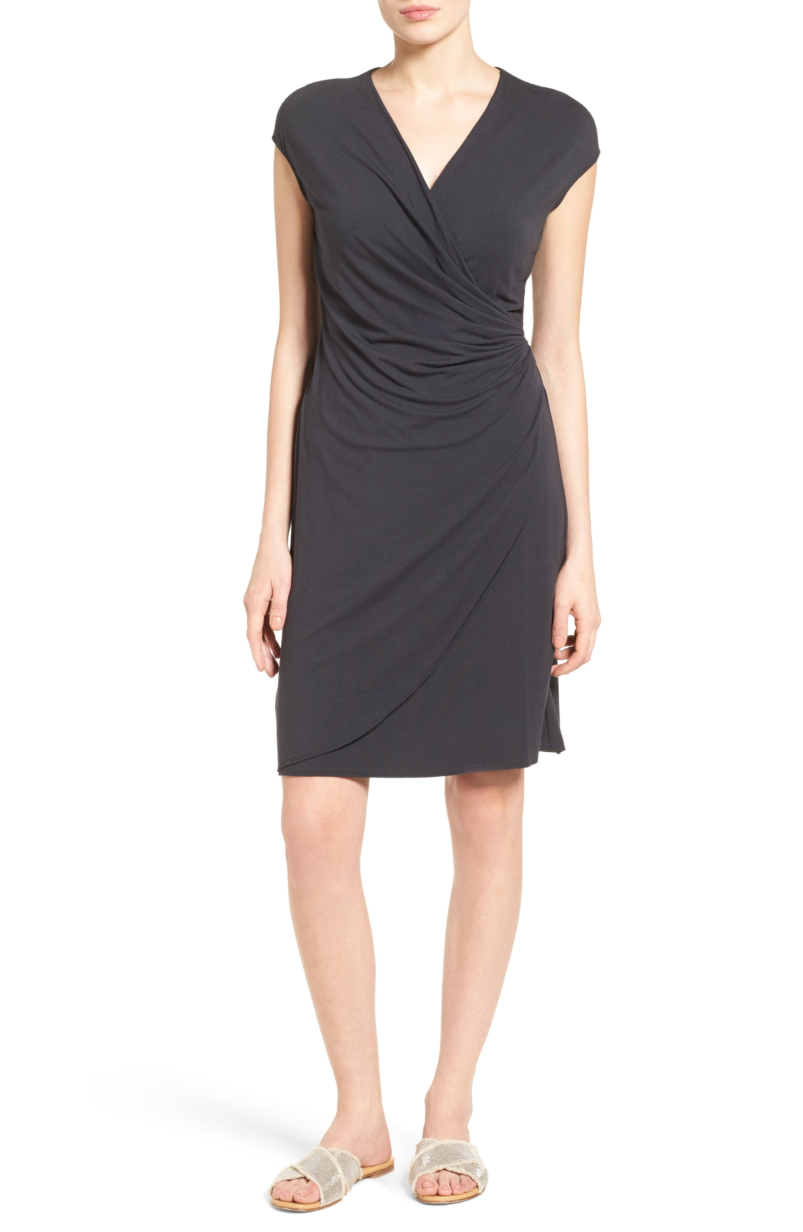 Tambour Side Gathered Jersey Dress,                             Main thumbnail 1, color,                             001
