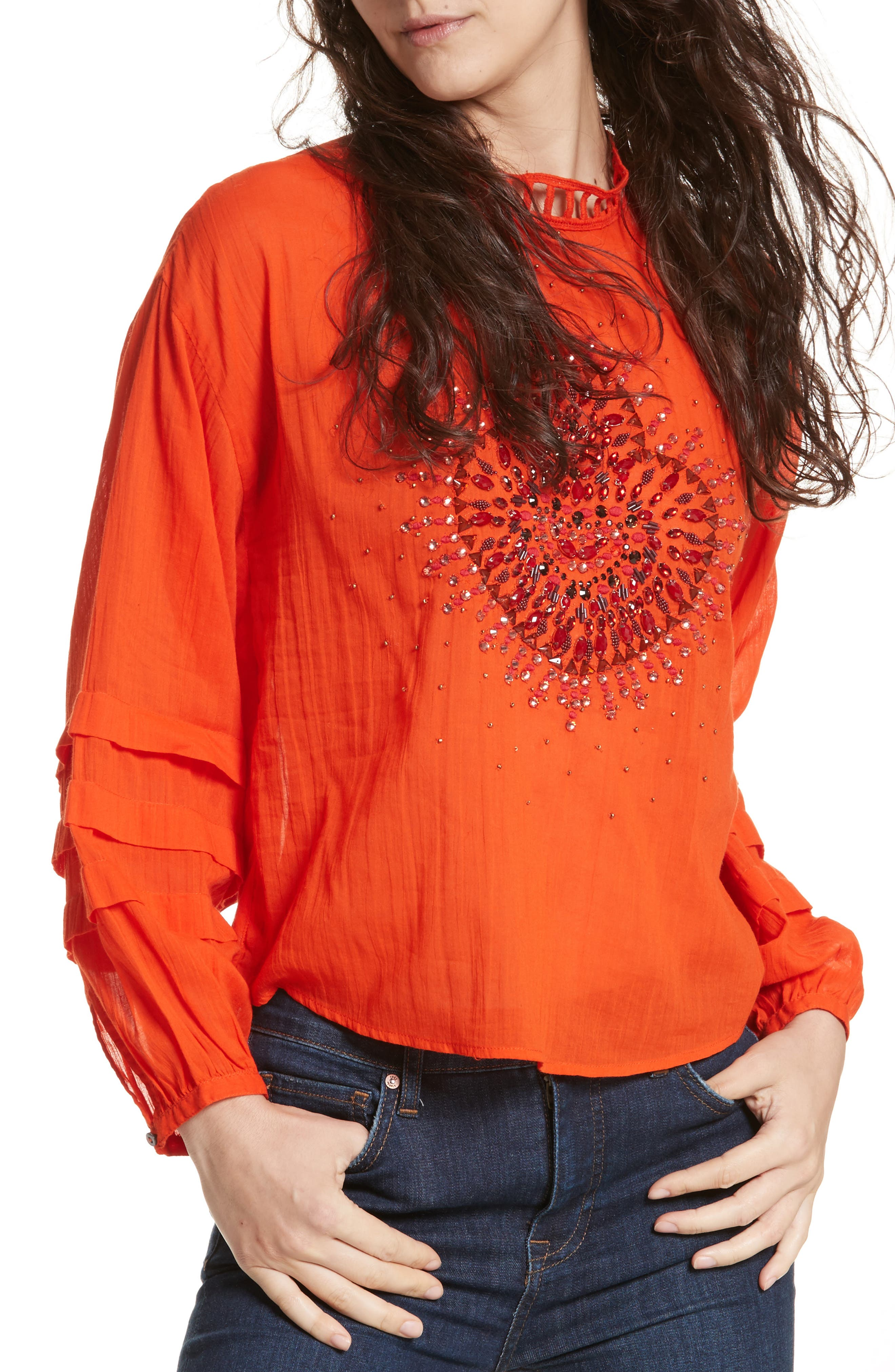 Heart of Gold Embellished Blouse,                             Main thumbnail 2, color,