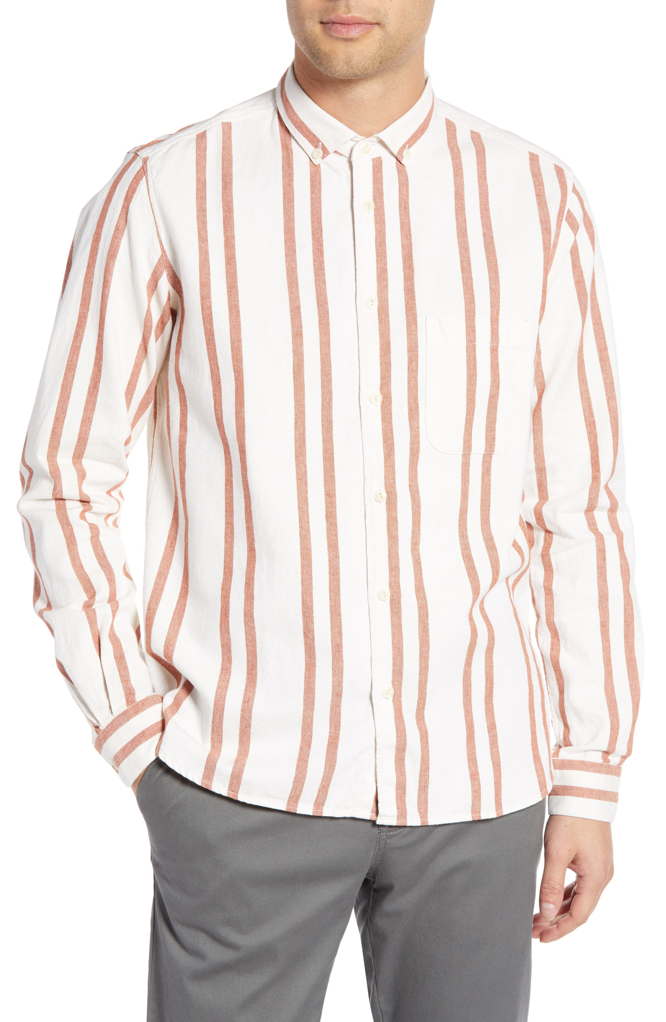 Dean Regular Fit Stripe Sport Shirt,                             Main thumbnail 1, color,                             ORANGE