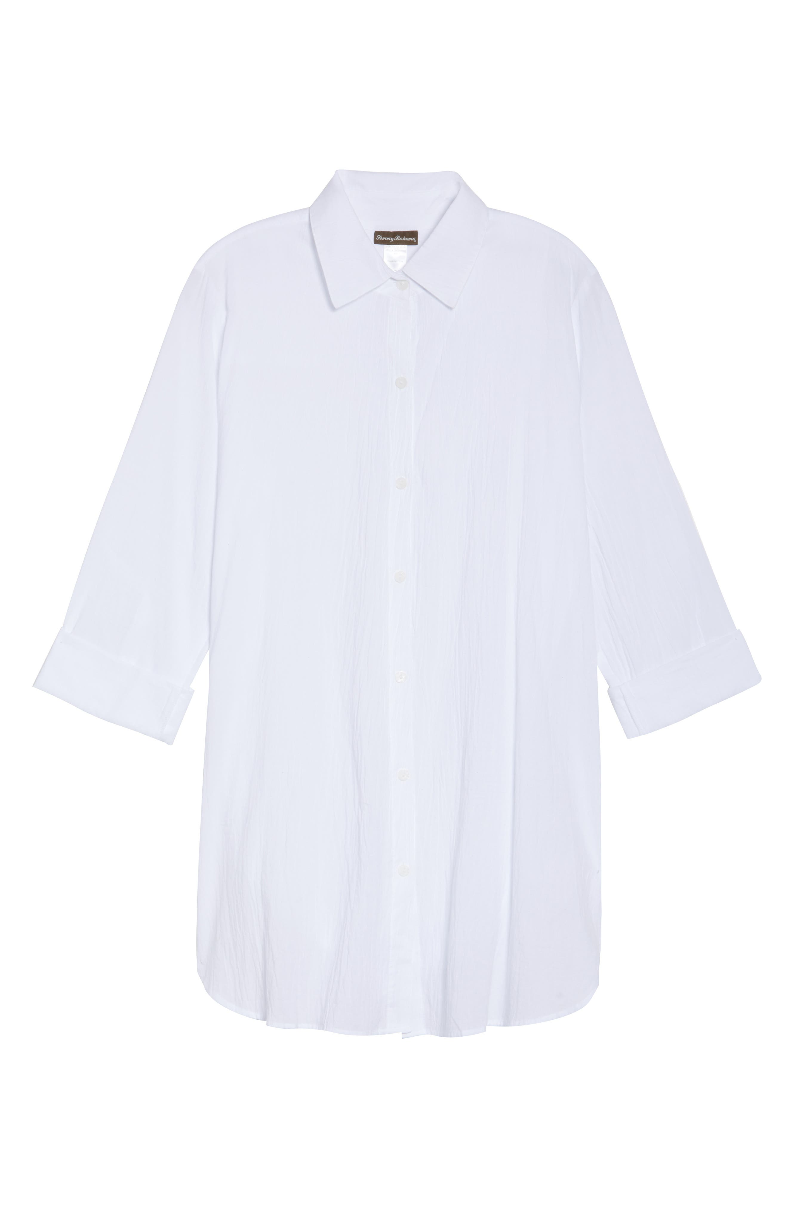 TOMMY BAHAMA,                             Boyfriend Shirt Cover-Up,                             Alternate thumbnail 7, color,                             WHITE