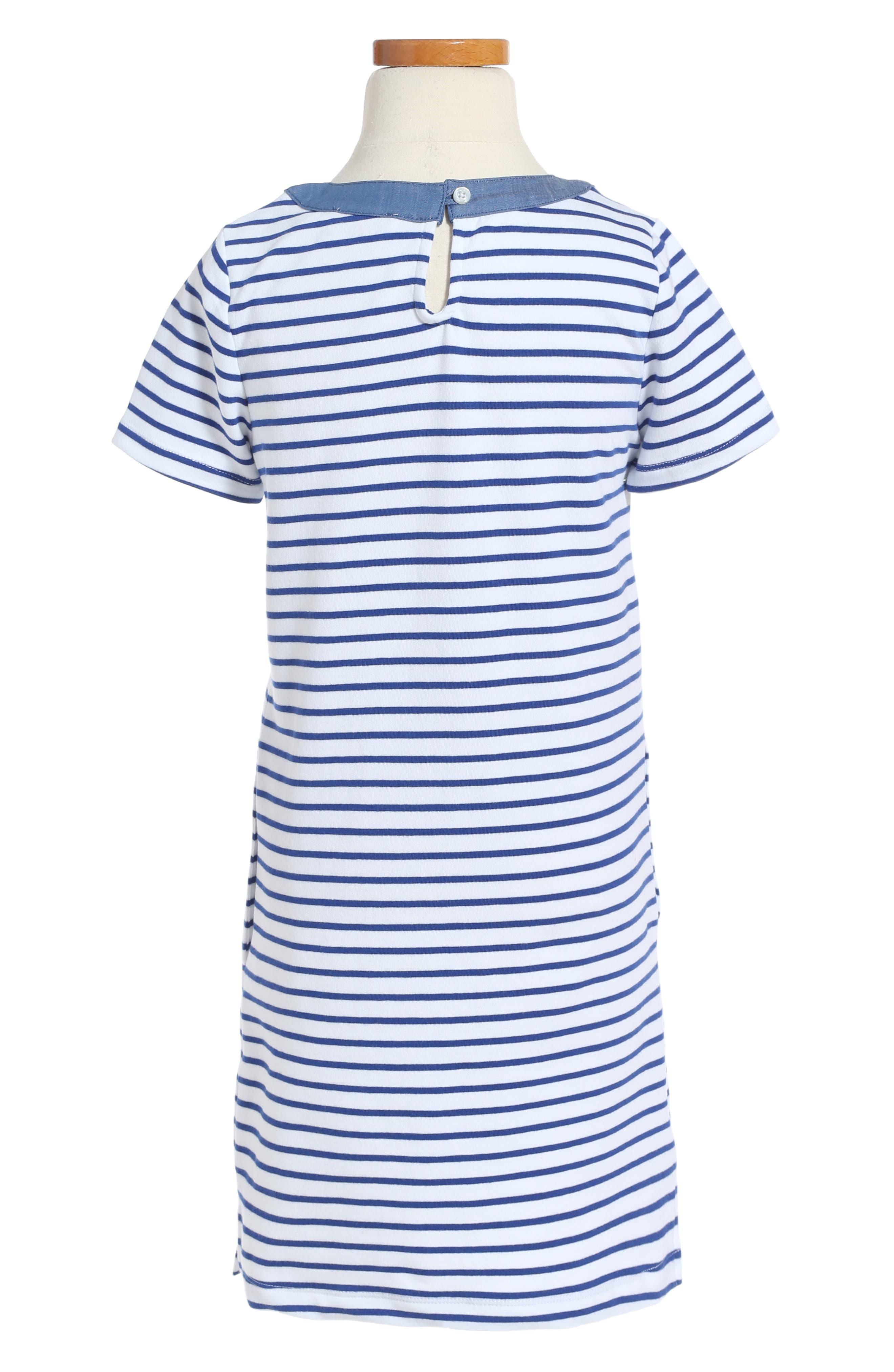 Stripe Stretch Cotton Shift Dress,                             Main thumbnail 1, color,                             404