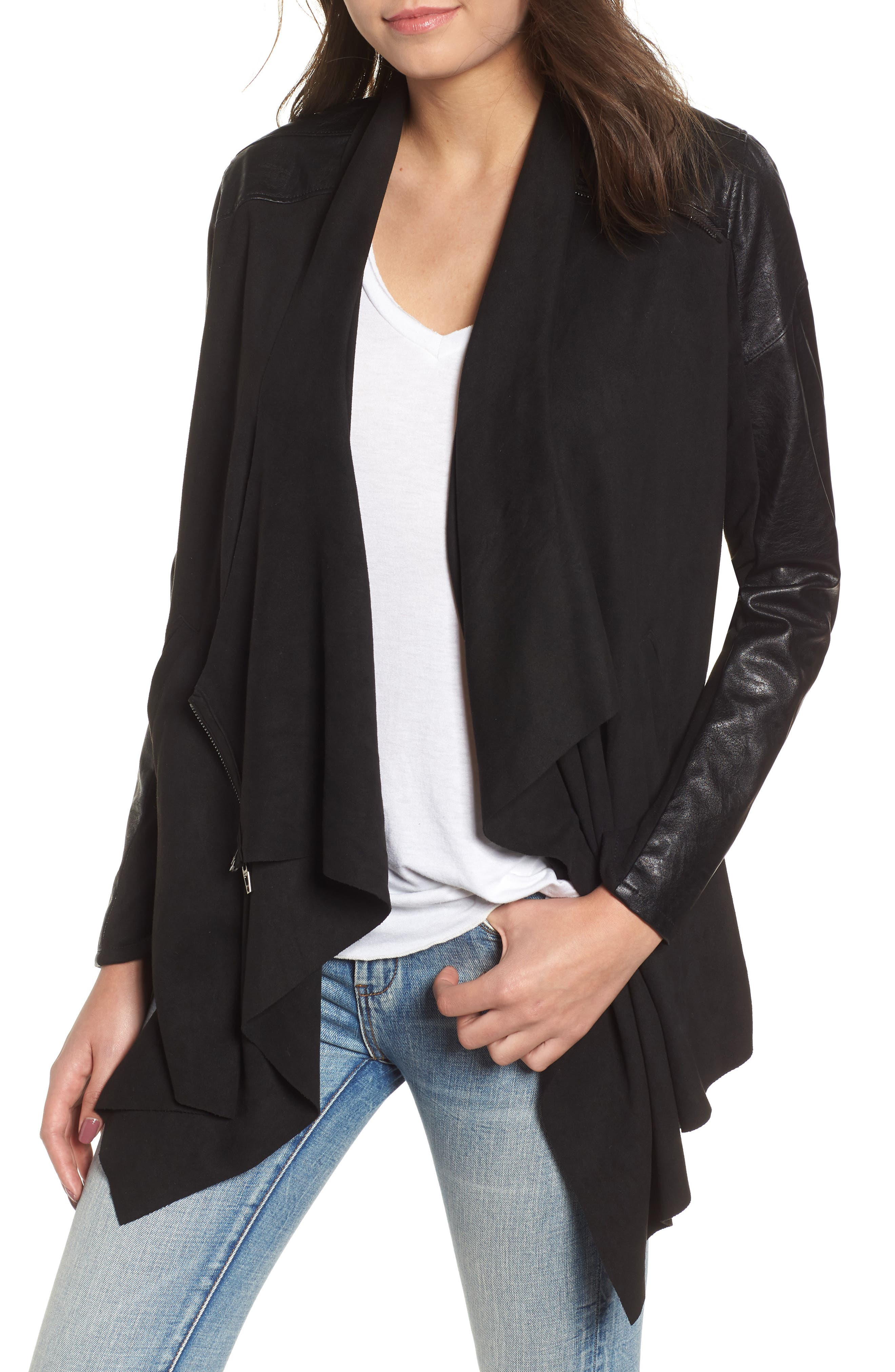 BLANKNYC Drape Front Jacket, Main, color, INK