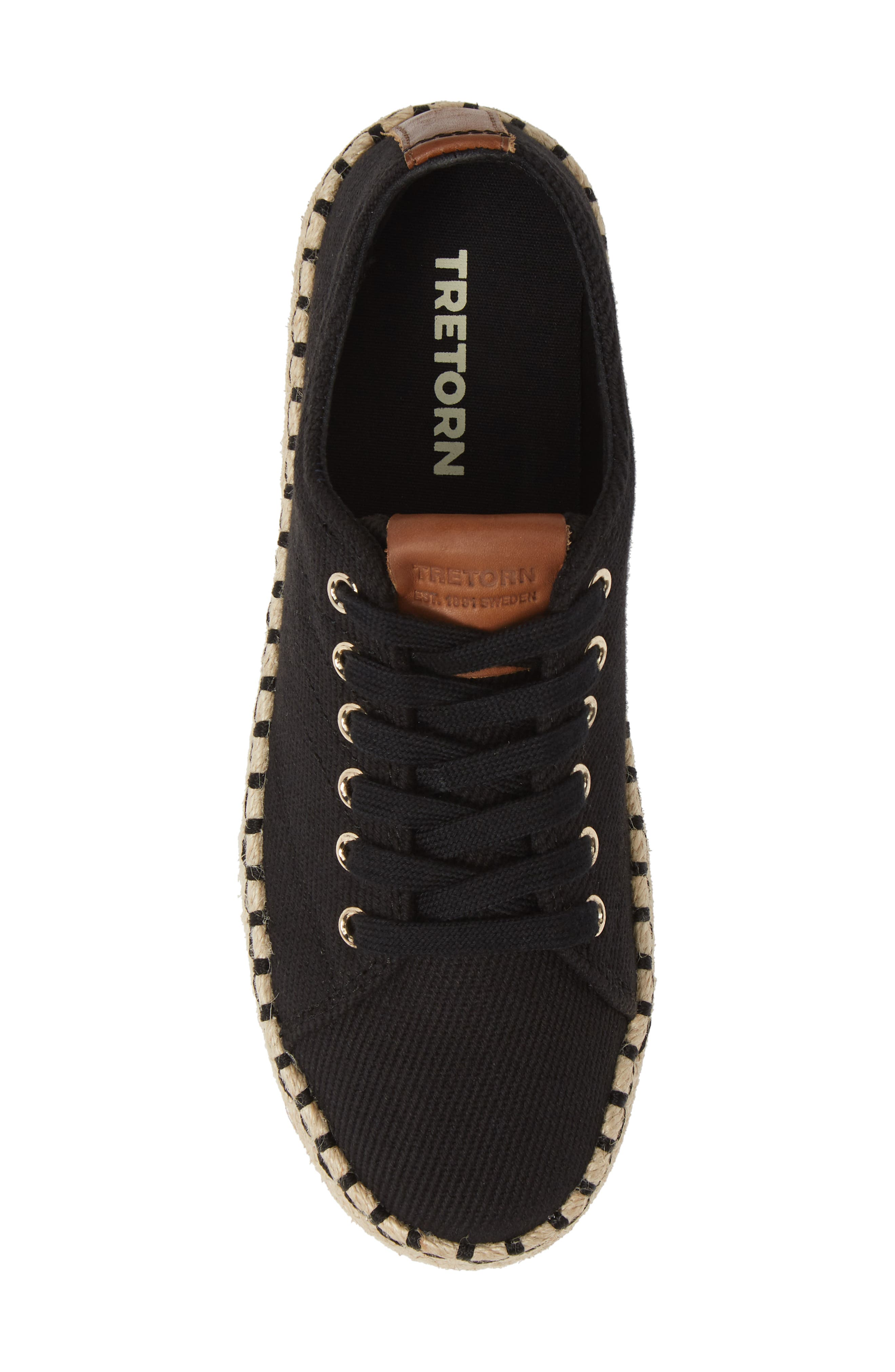 Platform Espadrille Sneaker,                             Alternate thumbnail 5, color,                             BLACK/ KONA TAN FABRIC