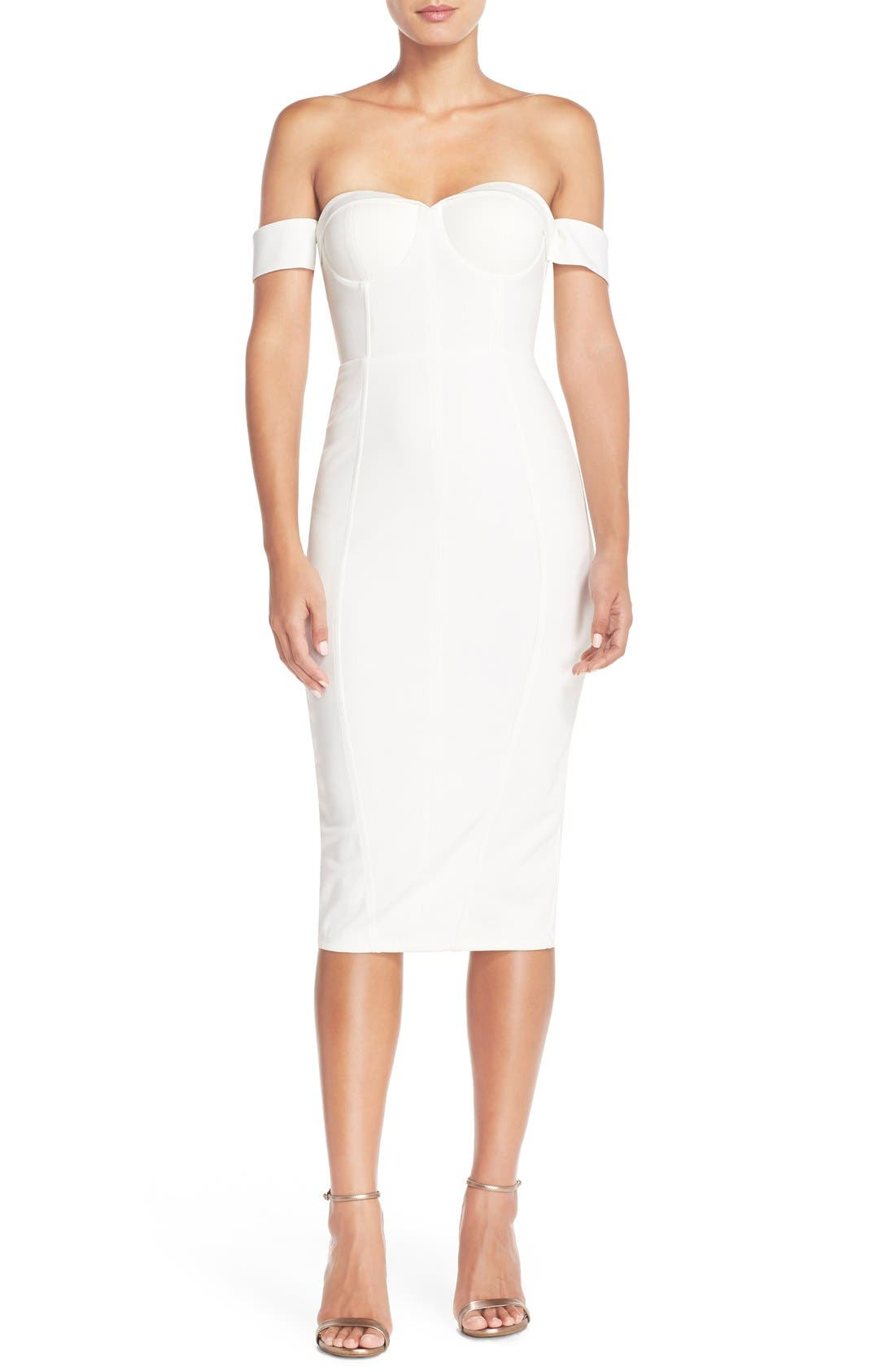 MishaCollection 'Chloe' Off the Shoulder Stretch Midi Dress,                             Main thumbnail 1, color,                             901