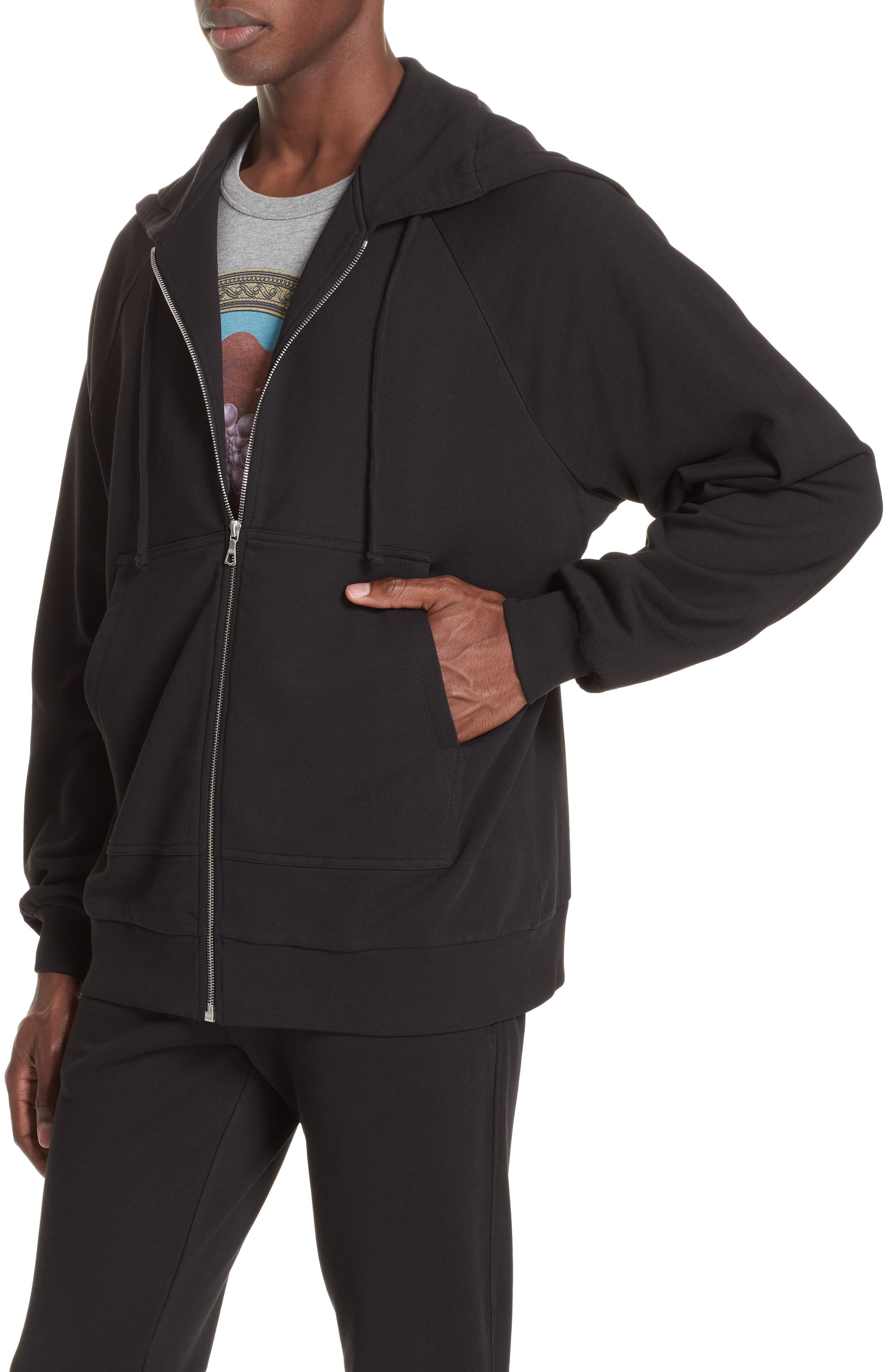 Oversize Hoodie,                             Alternate thumbnail 4, color,                             BLACK