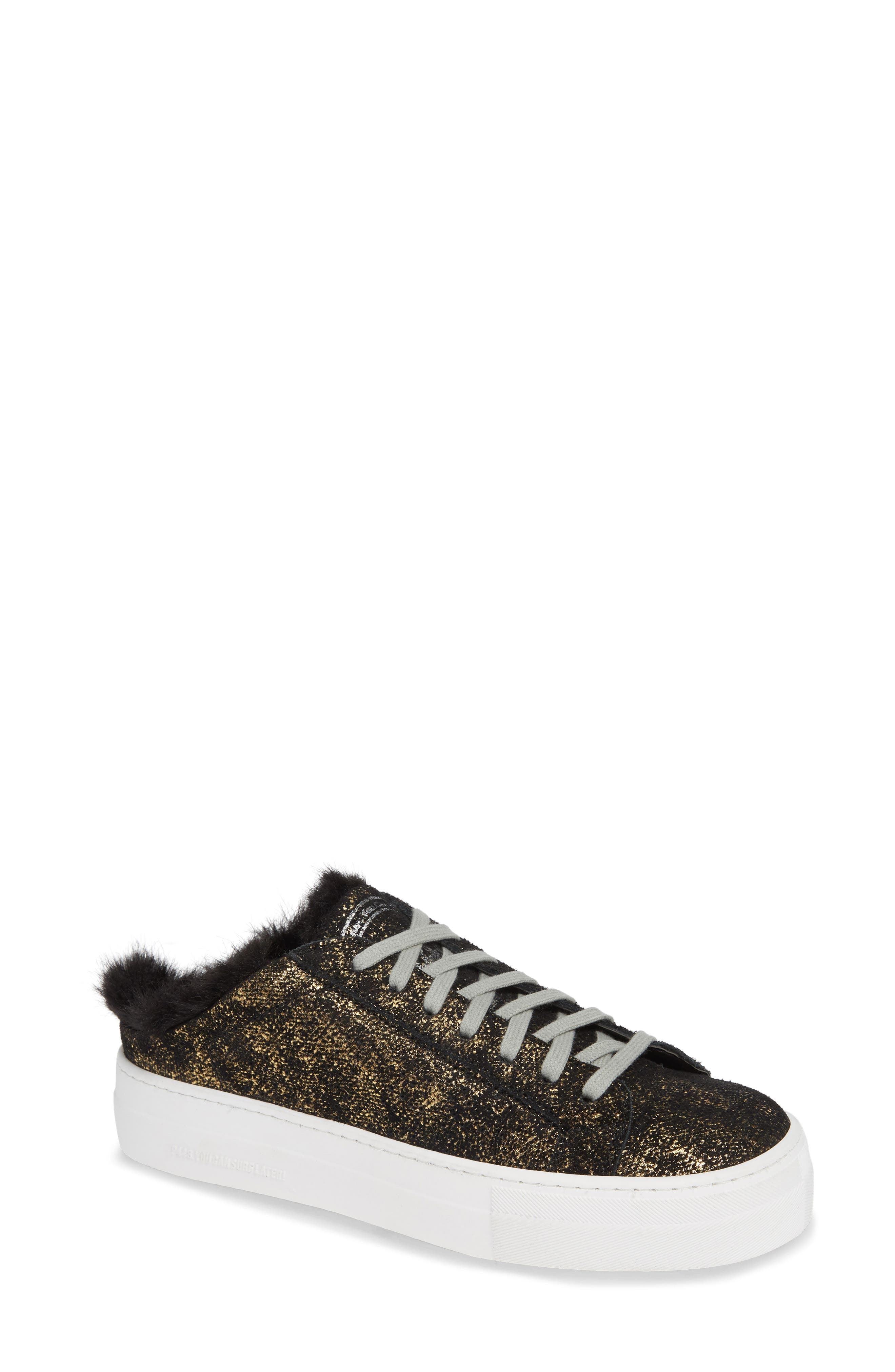 Women'S Clara Crackled Leather Open Back Platform Sneakers in Gold Monk