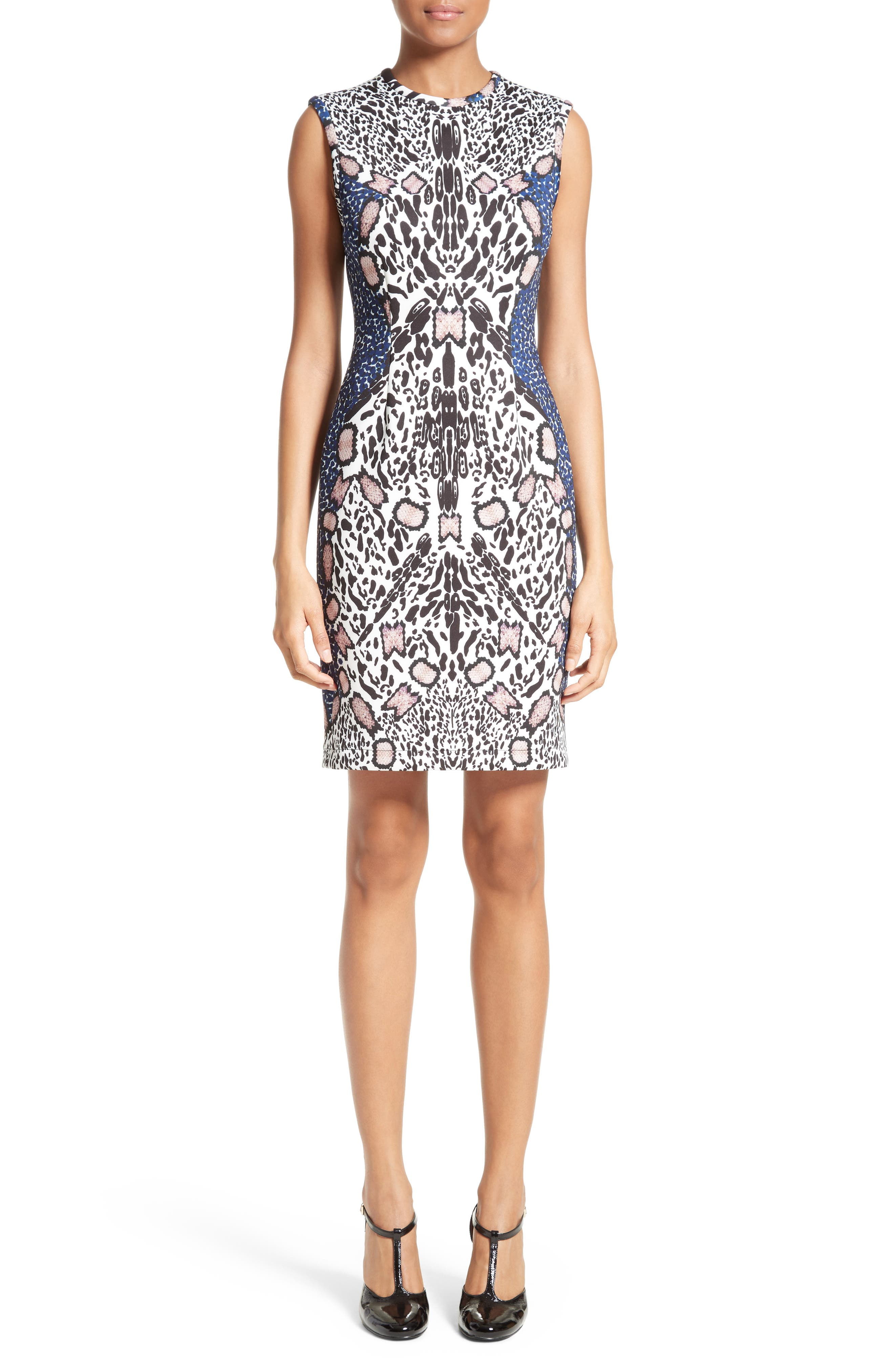 Cheetah Neoprene Sheath Dress,                             Main thumbnail 1, color,                             002