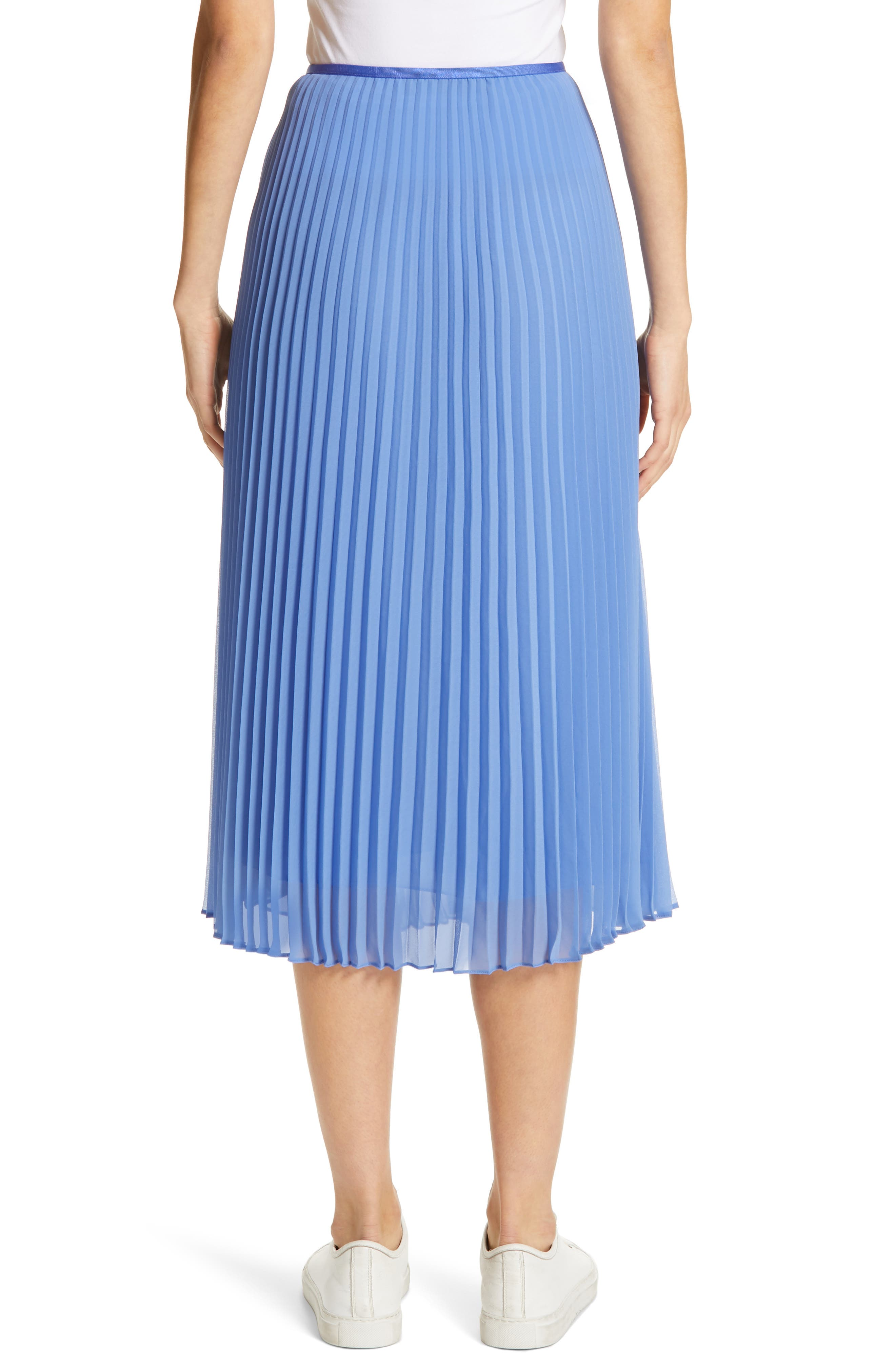 Pleat Midi Skirt,                             Alternate thumbnail 2, color,                             BERMUDA BLUE