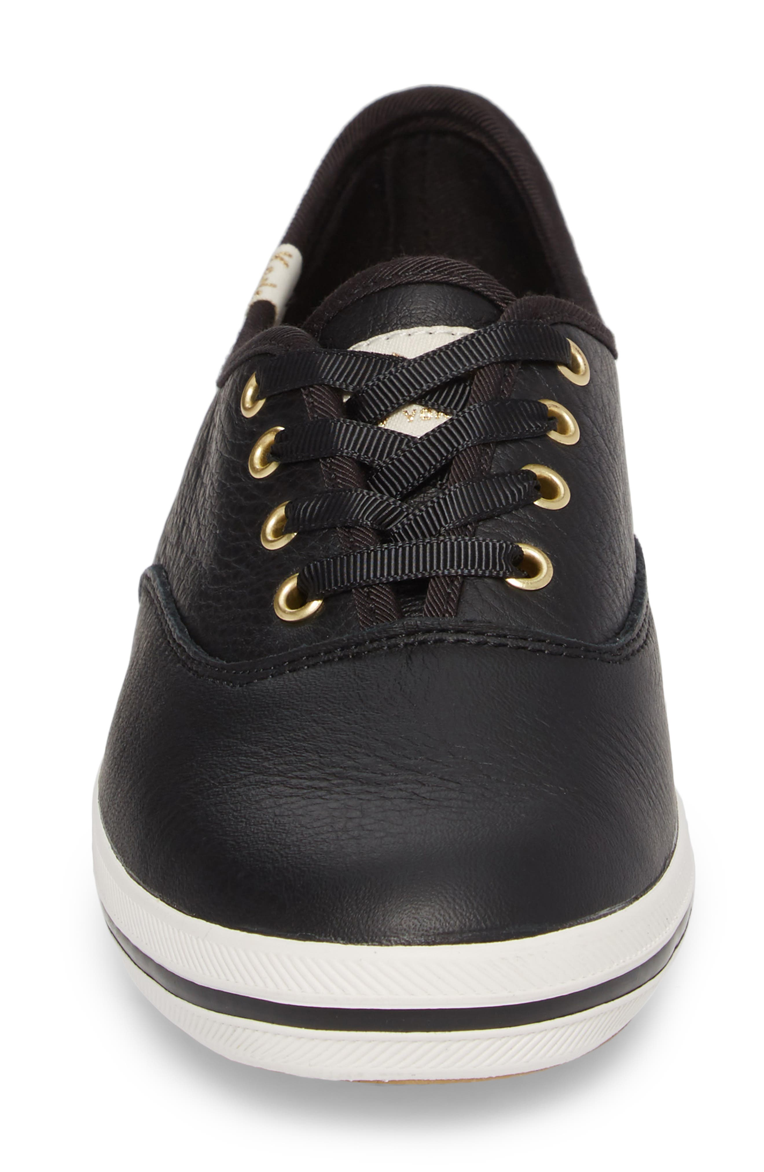 leather sneaker,                             Alternate thumbnail 4, color,                             BLACK LEATHER