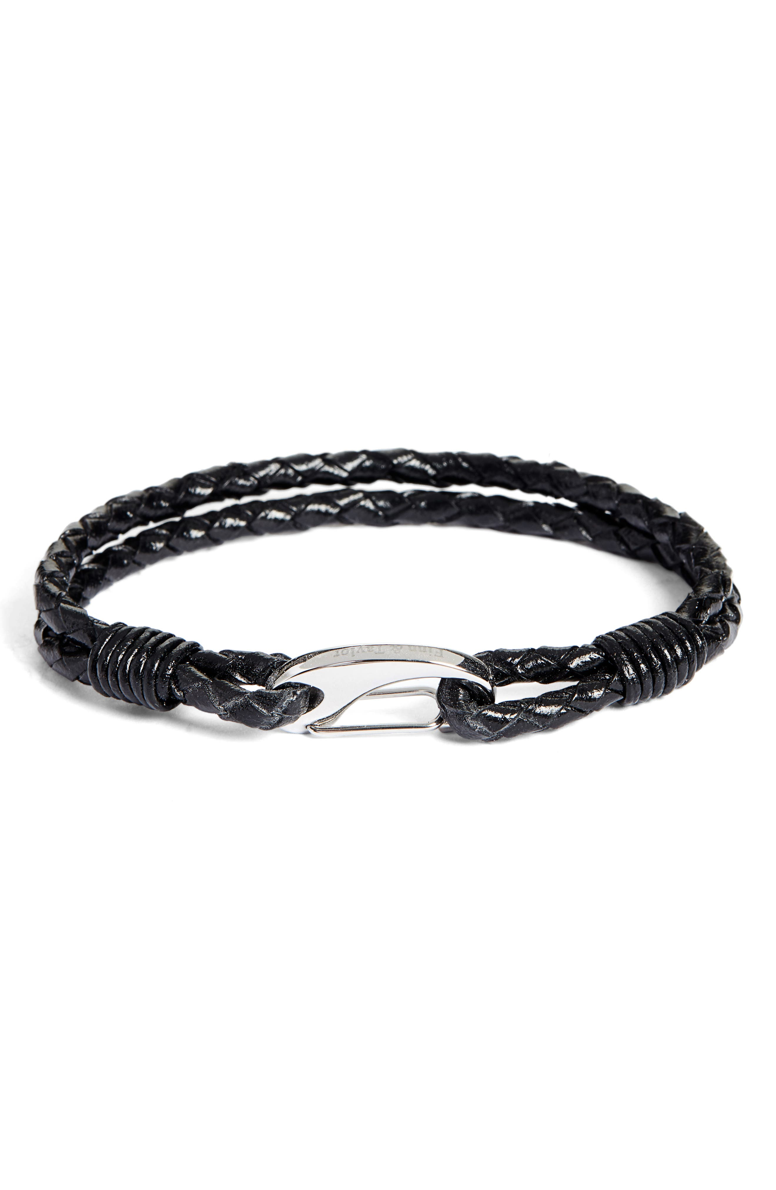 Braided Leather Bracelet,                         Main,                         color, 002