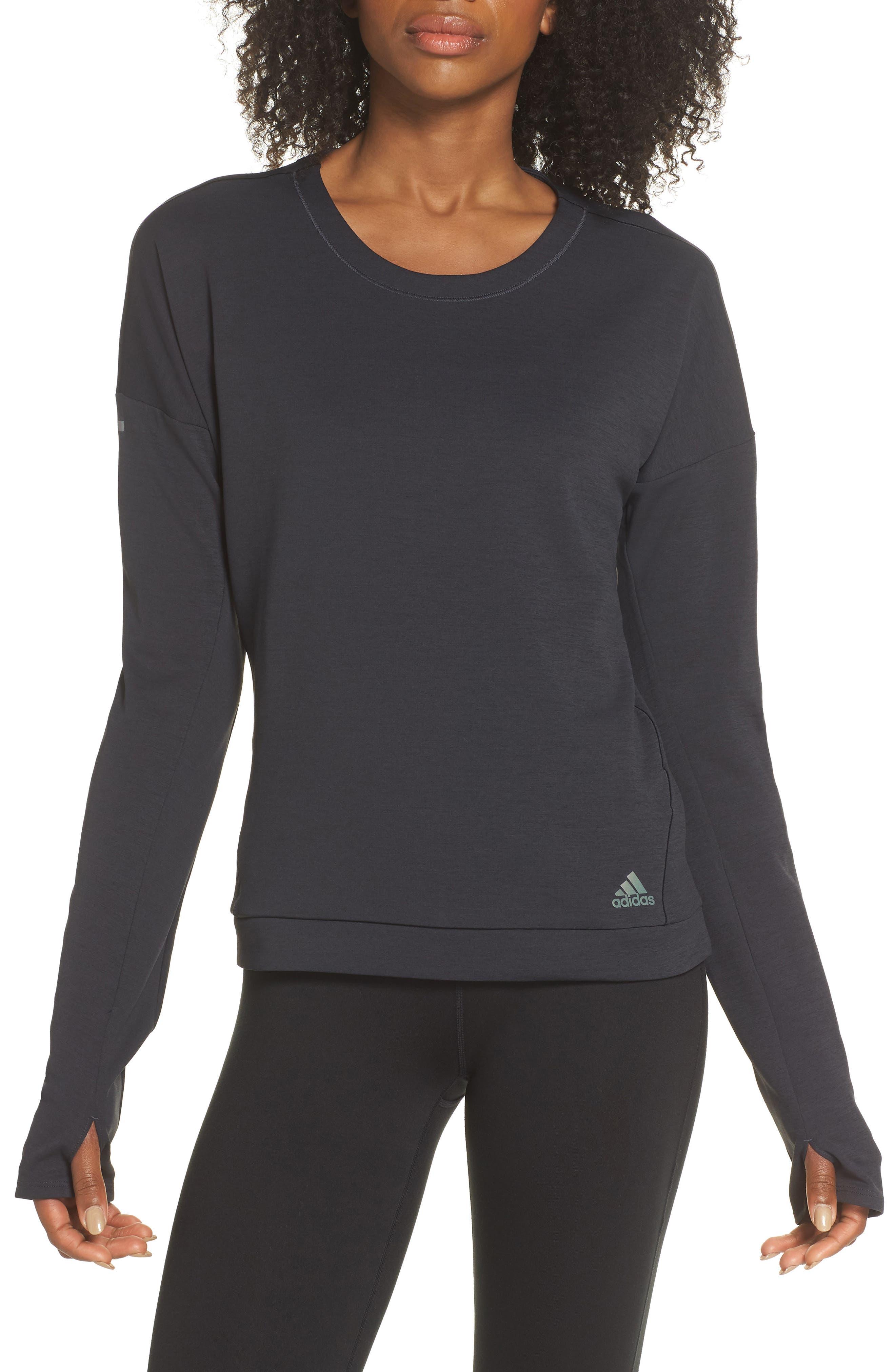 Supernova Run Sweatshirt,                         Main,                         color, BLACK/ COLORED HEATHER