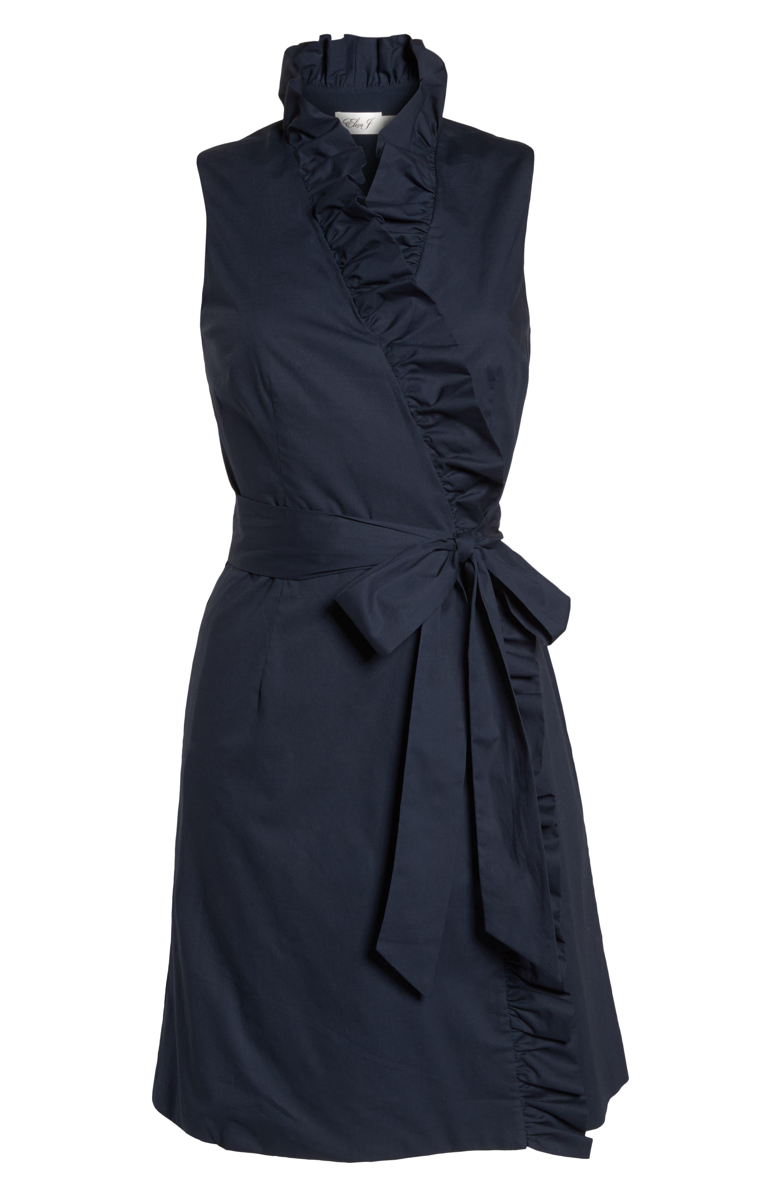 Ruffle Trim Poplin Wrap Dress,                             Alternate thumbnail 7, color,                             410
