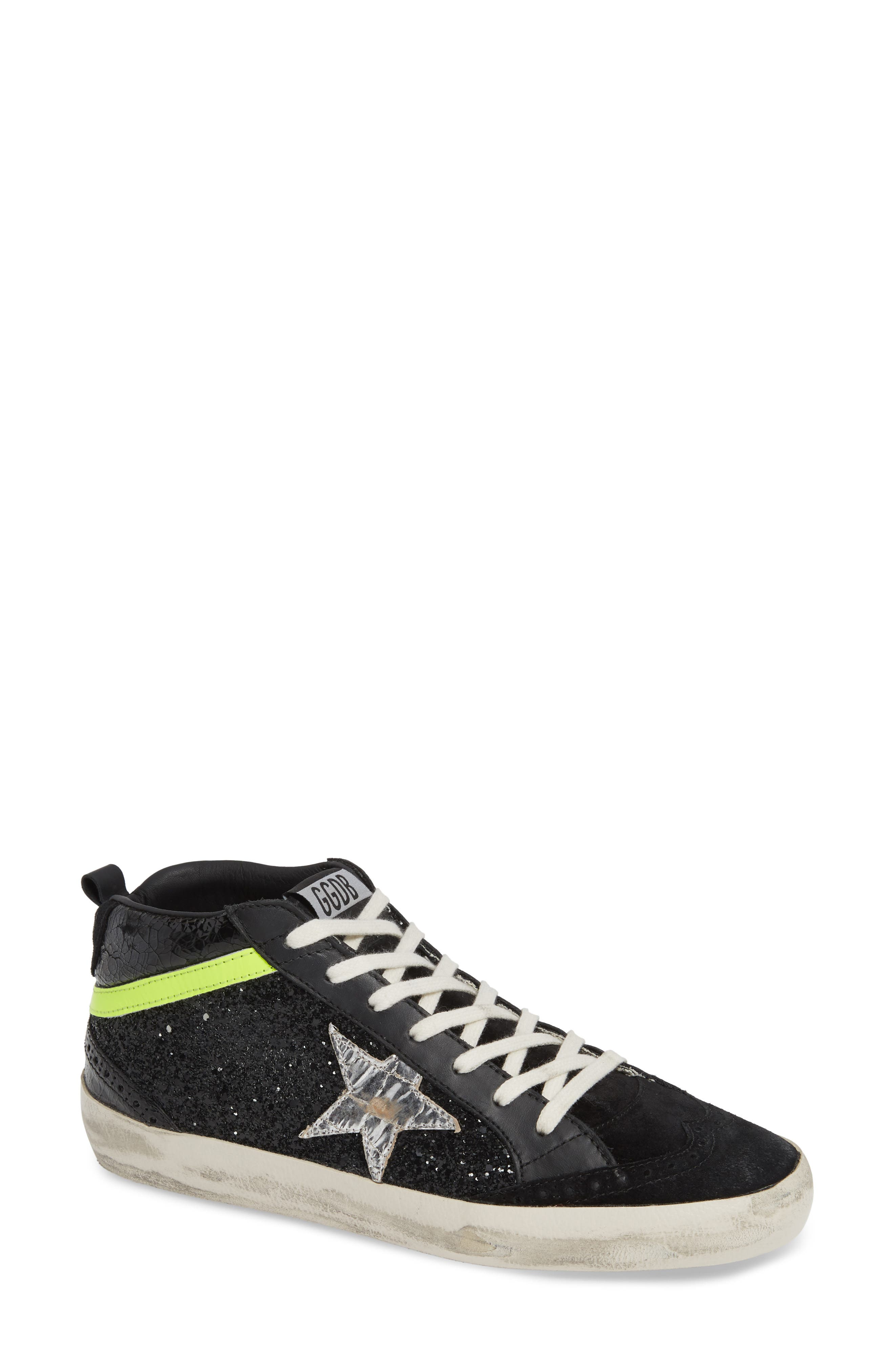 Mid Top Sneaker, Main, color, BLACK/ YELLOW/ SILVER