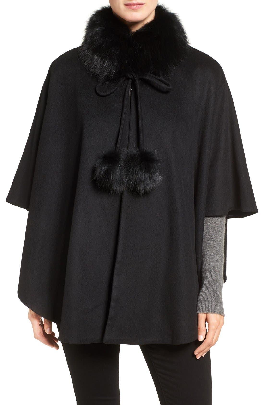 Genuine Fox Fur Collar Cashmere Cape,                             Main thumbnail 1, color,                             001
