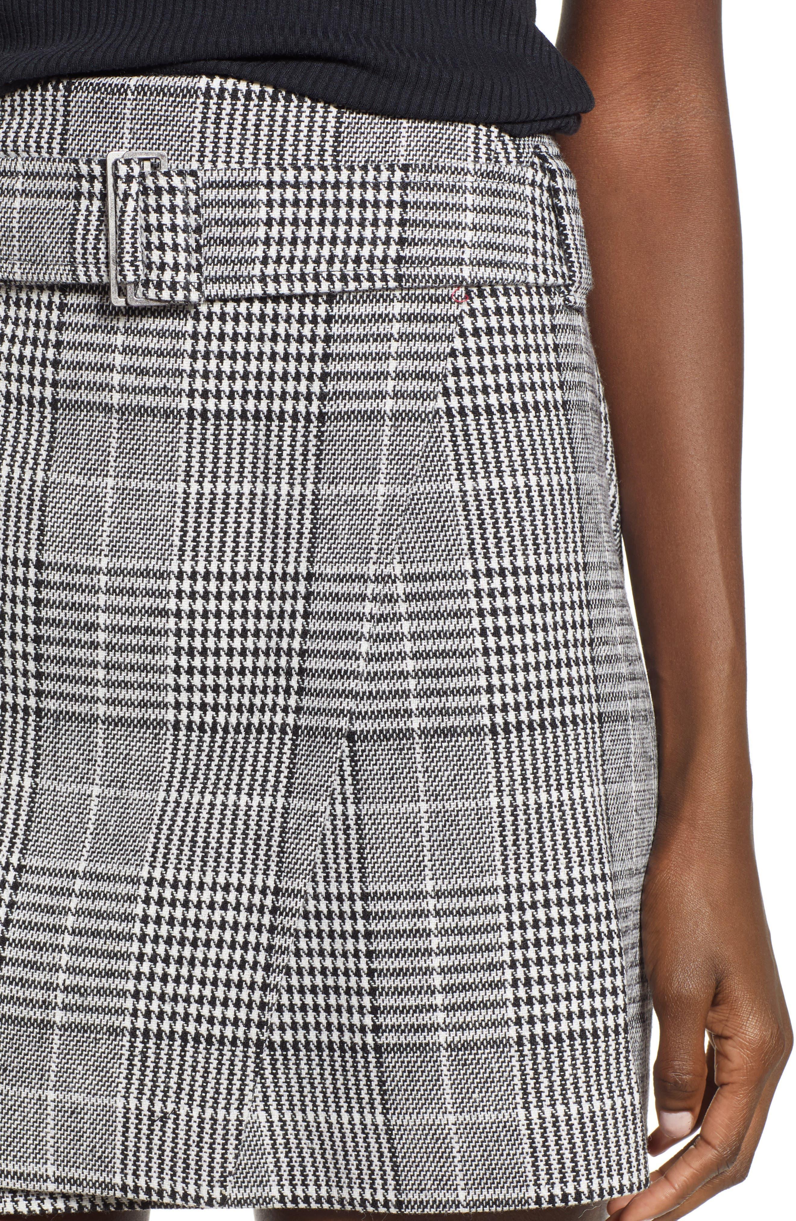 Plaid Miniskirt,                             Alternate thumbnail 4, color,                             BLACK SHAROL PLAID