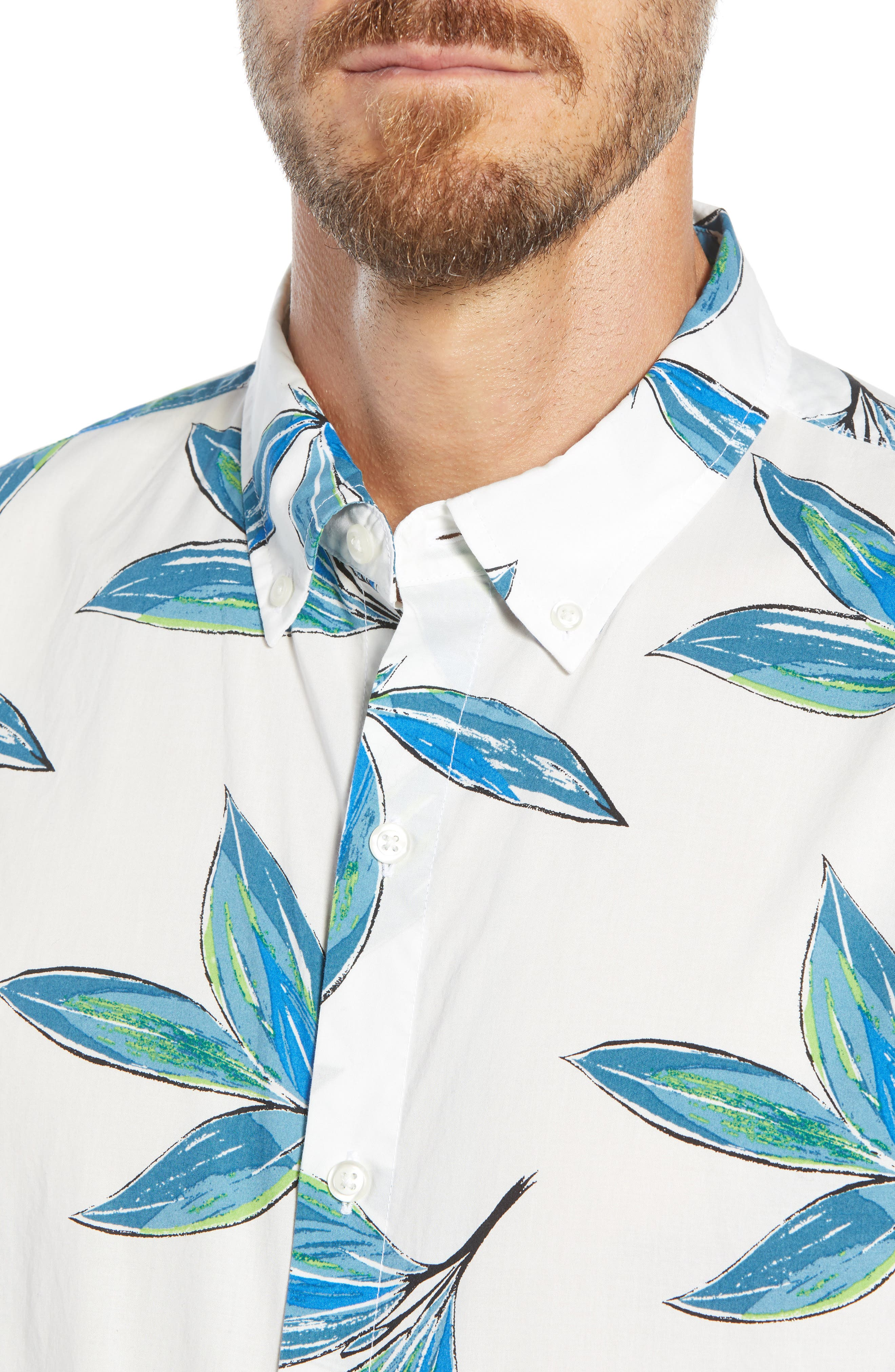 Riviera Slim Fit Leaf Print Sport Shirt,                             Alternate thumbnail 2, color,                             LEAF BUNCH
