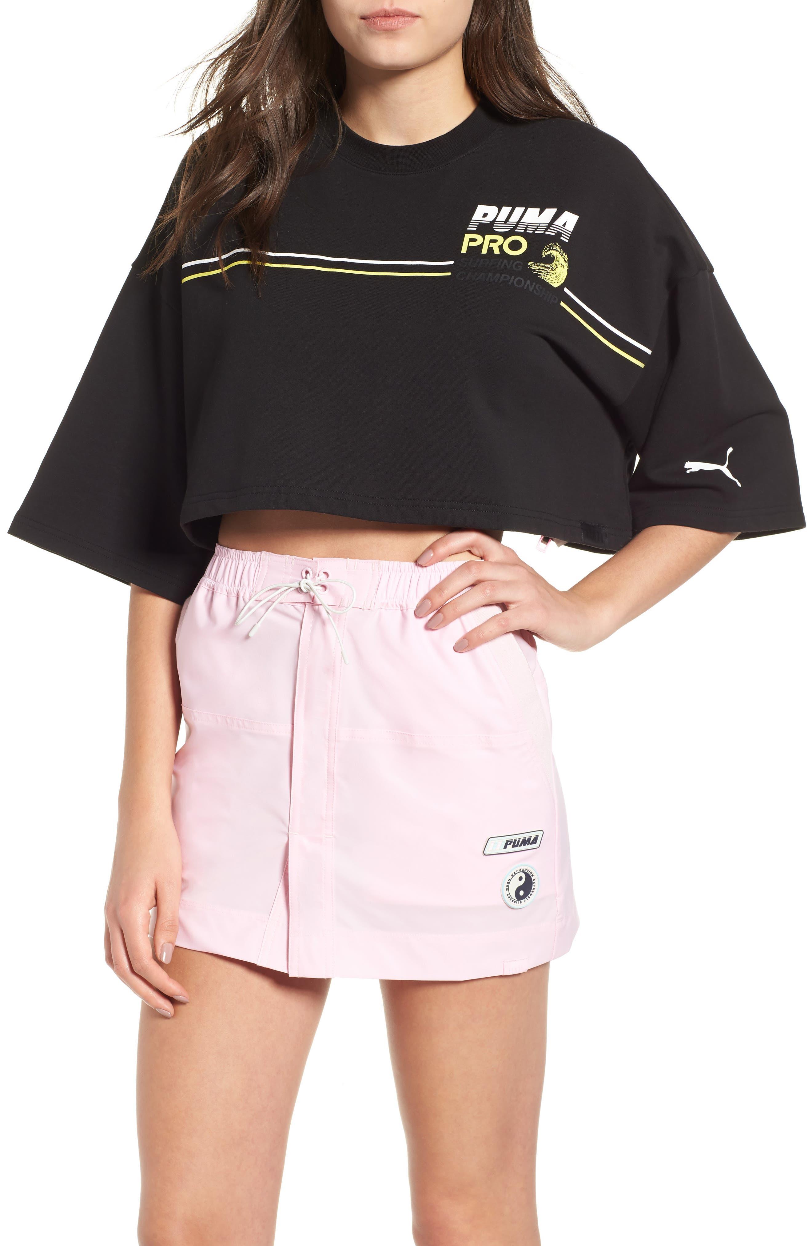 PUMA by Rihanna Graphic Short Sleeve Crop Sweatshirt,                         Main,                         color, 001