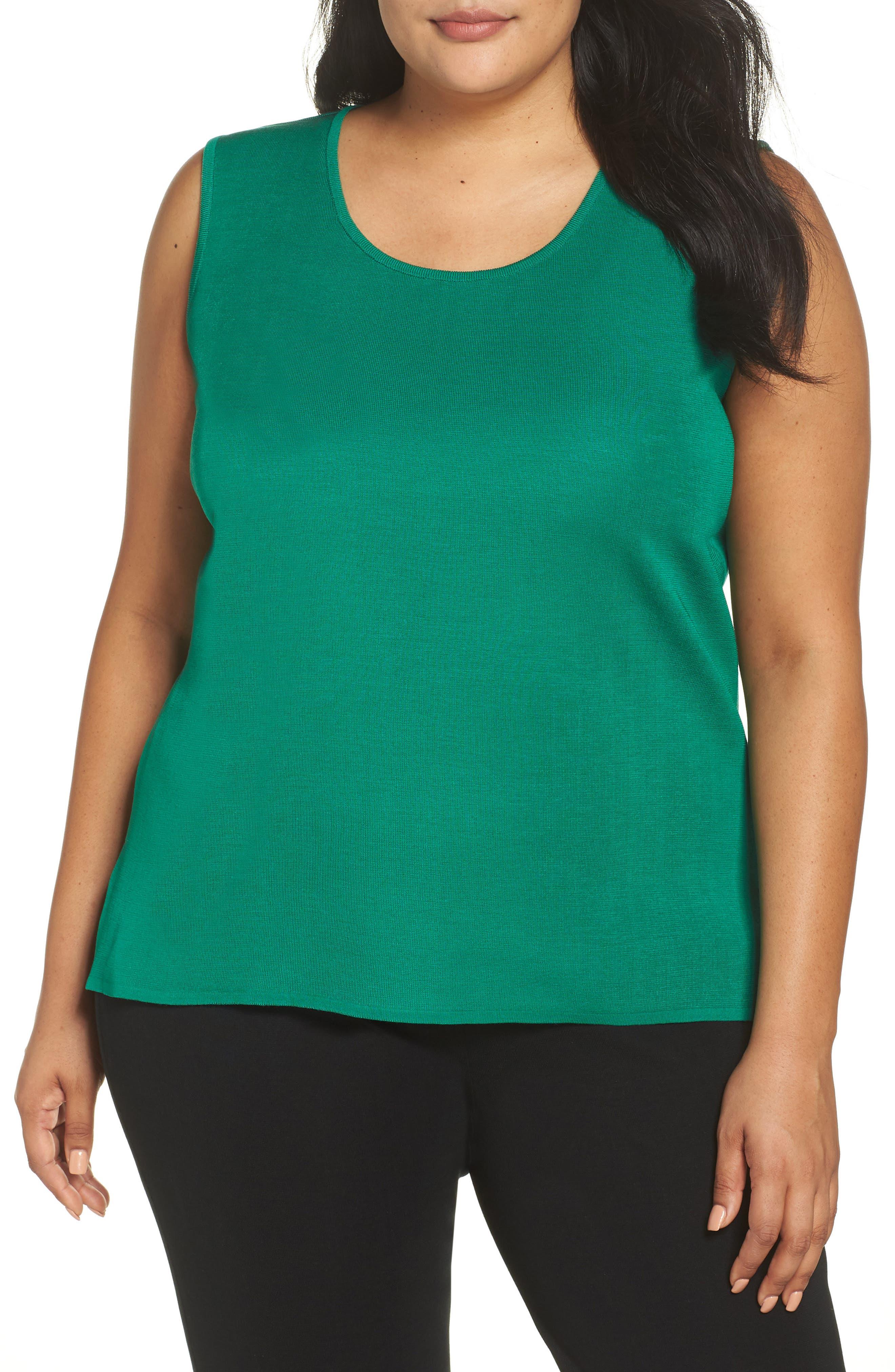 Plus Size Ming Wang Knit Tank, Green