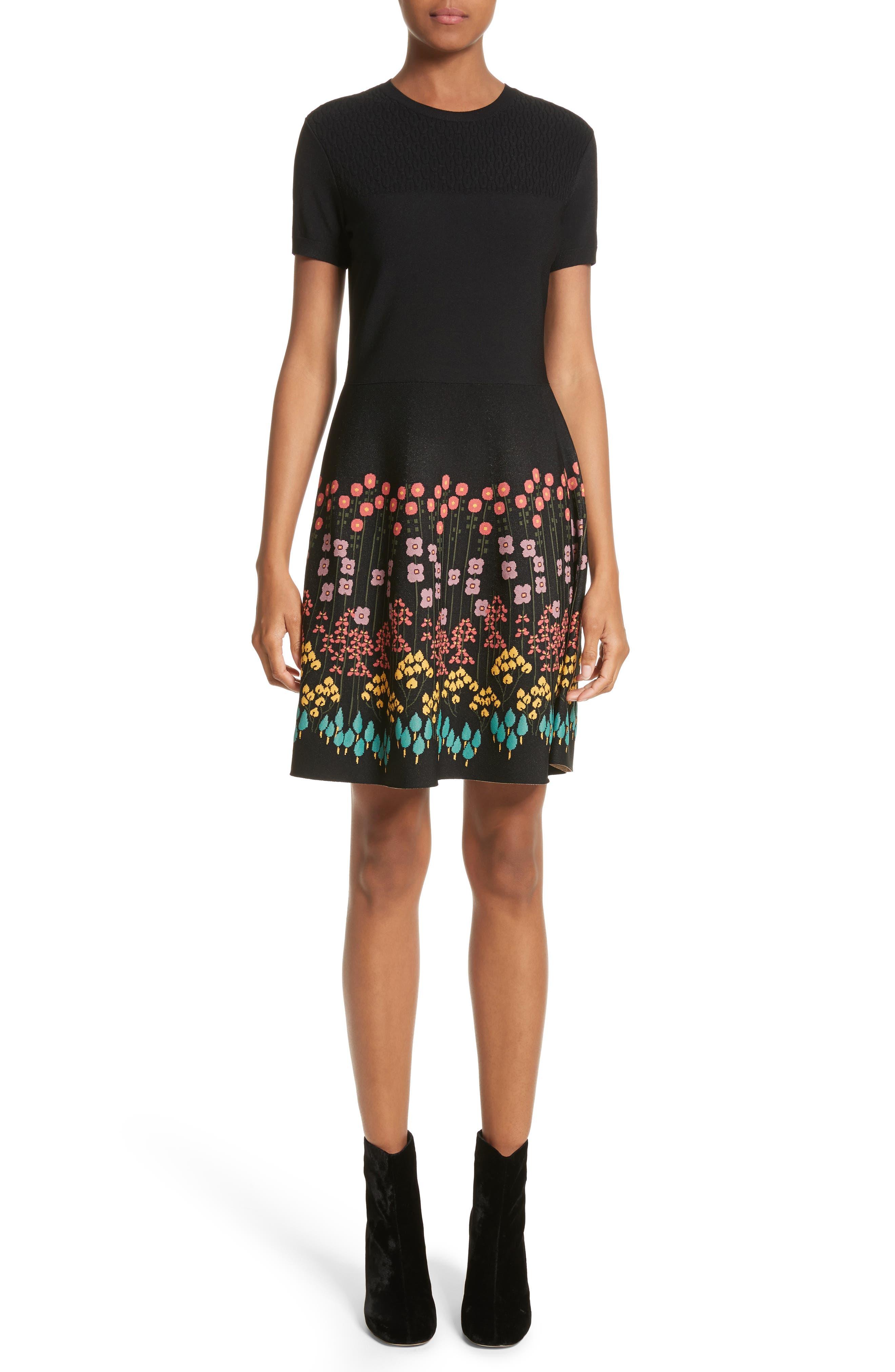 Floral Jacquard Knit Dress,                             Main thumbnail 1, color,                             001