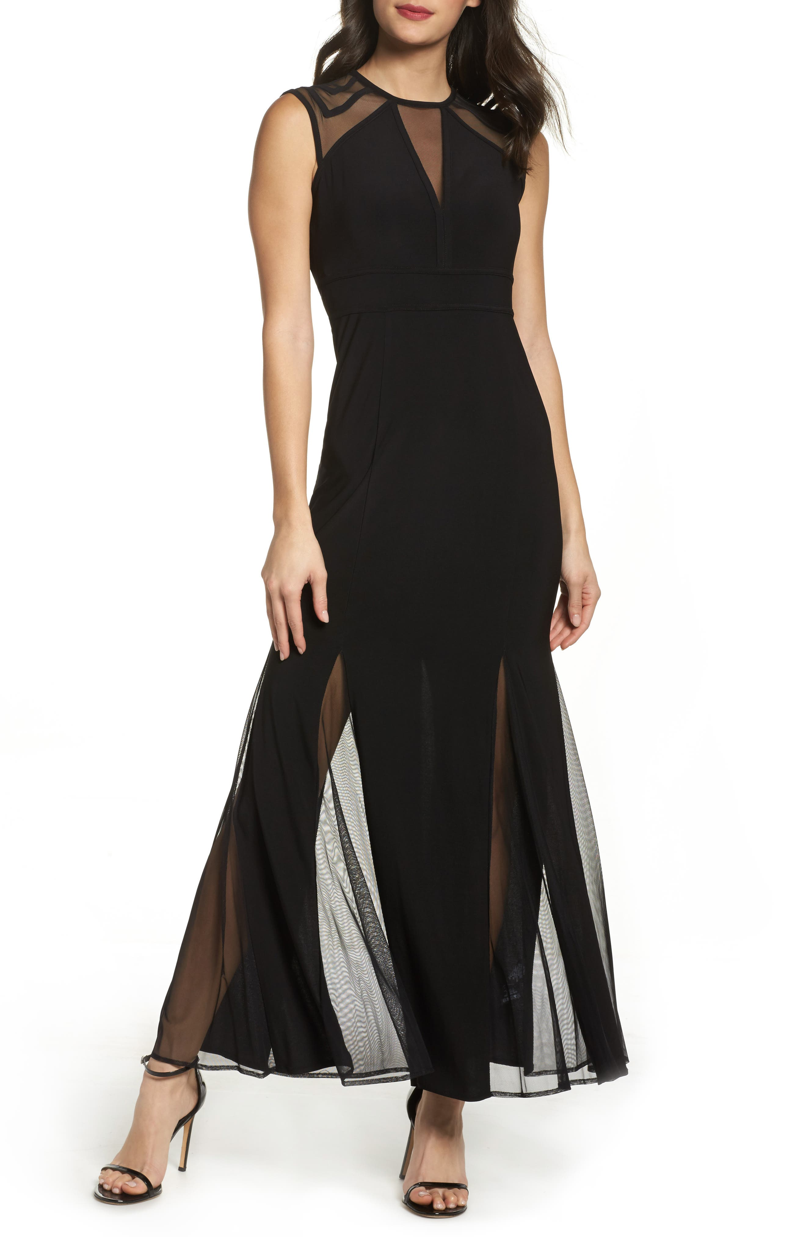 Mesh Inset Open Back Gown,                             Main thumbnail 1, color,                             001