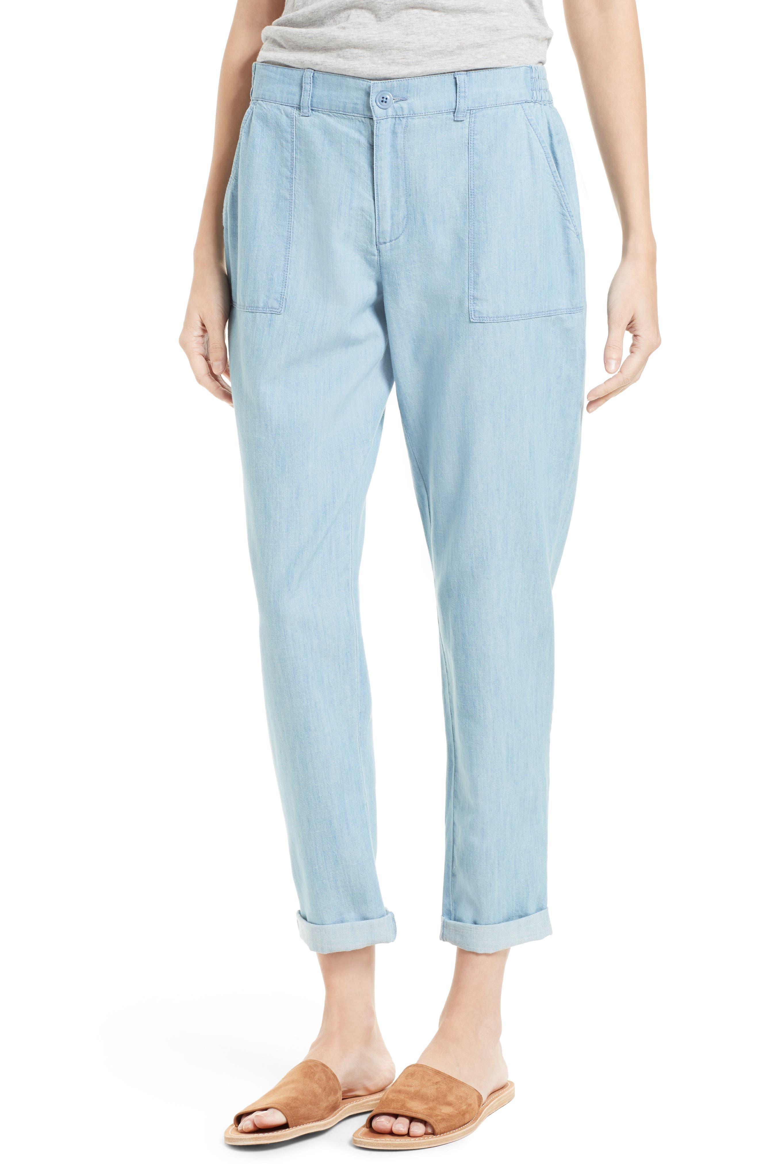 Mendaline Chambray Pants, Main, color, 468