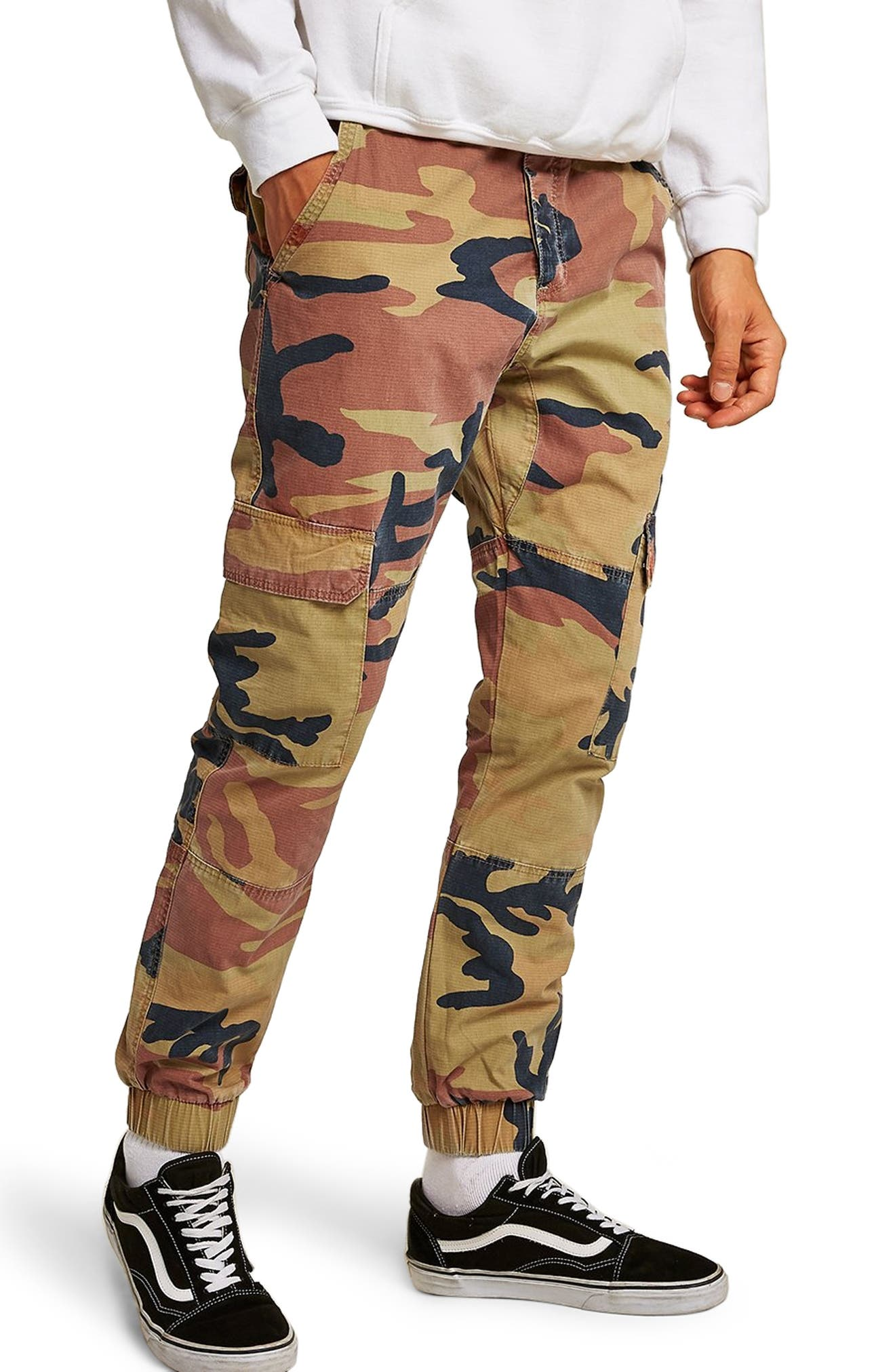 Camouflage Skinny Cargo Trousers,                         Main,                         color, STONE