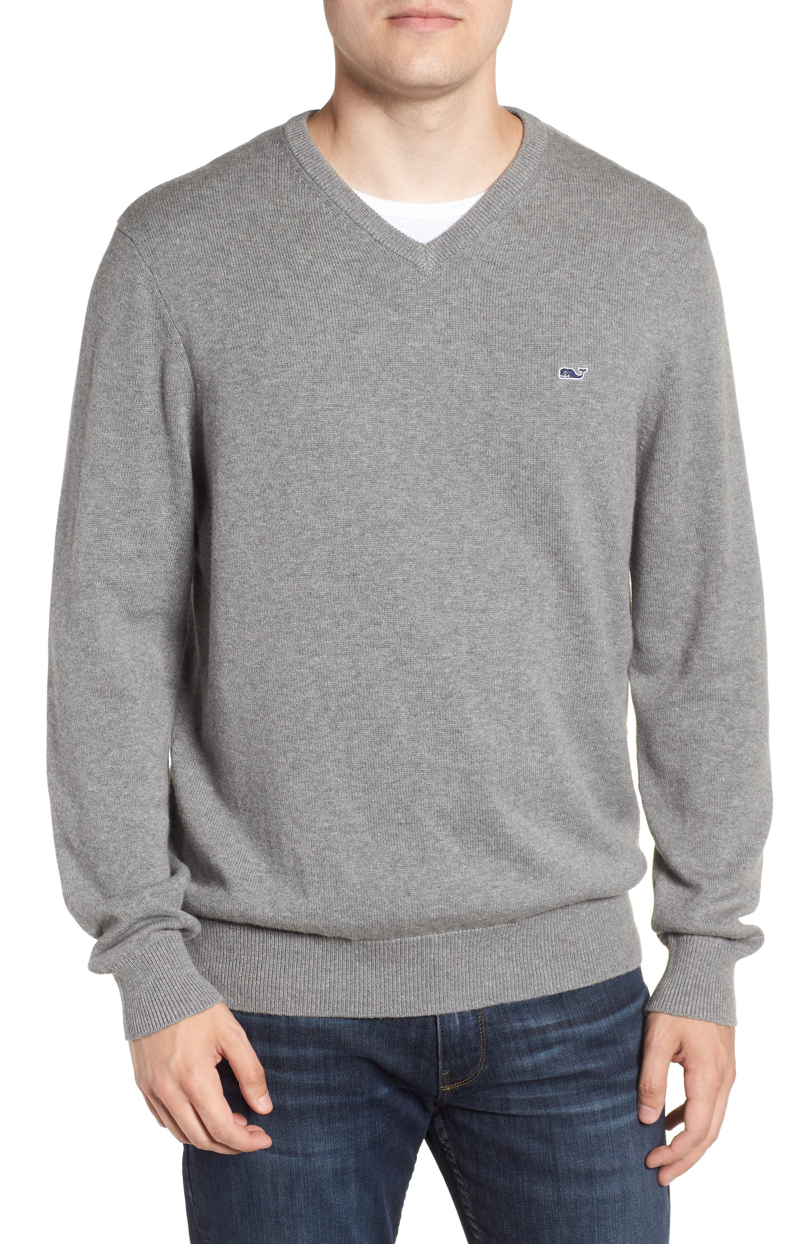 Cotton & Cashmere V-Neck Sweater,                         Main,                         color, GRAY HEATHER