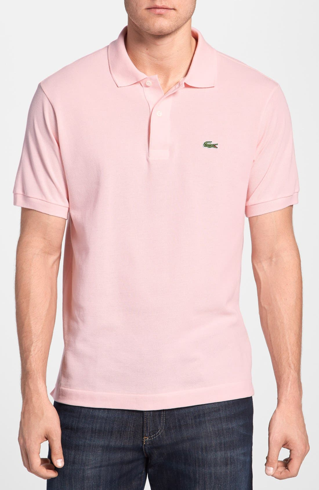 LACOSTE Short Sleeve Pique Polo Shirt - Classic Fit in Pink