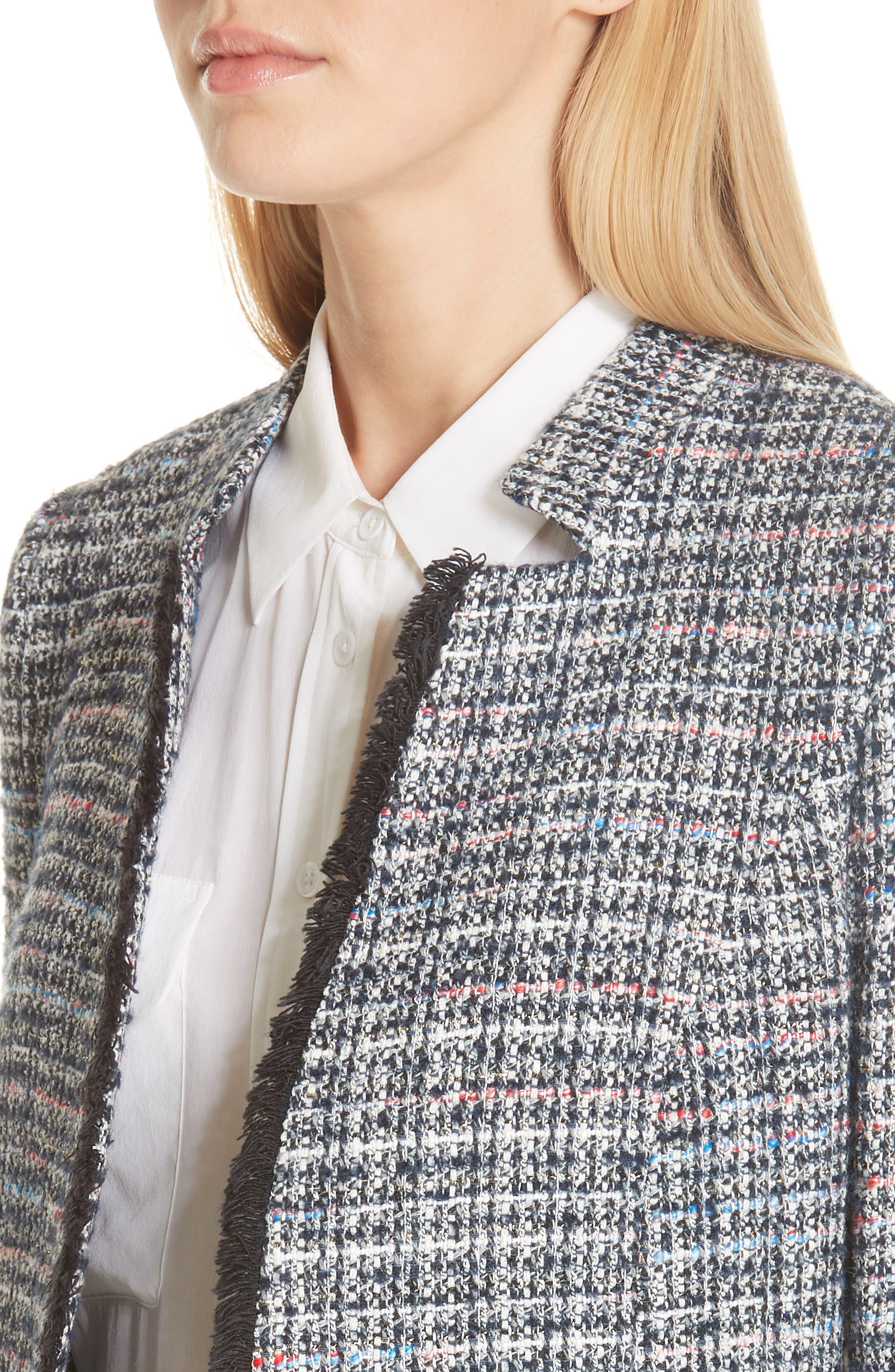 Notch Collar Tweed Jacket,                             Alternate thumbnail 4, color,                             400