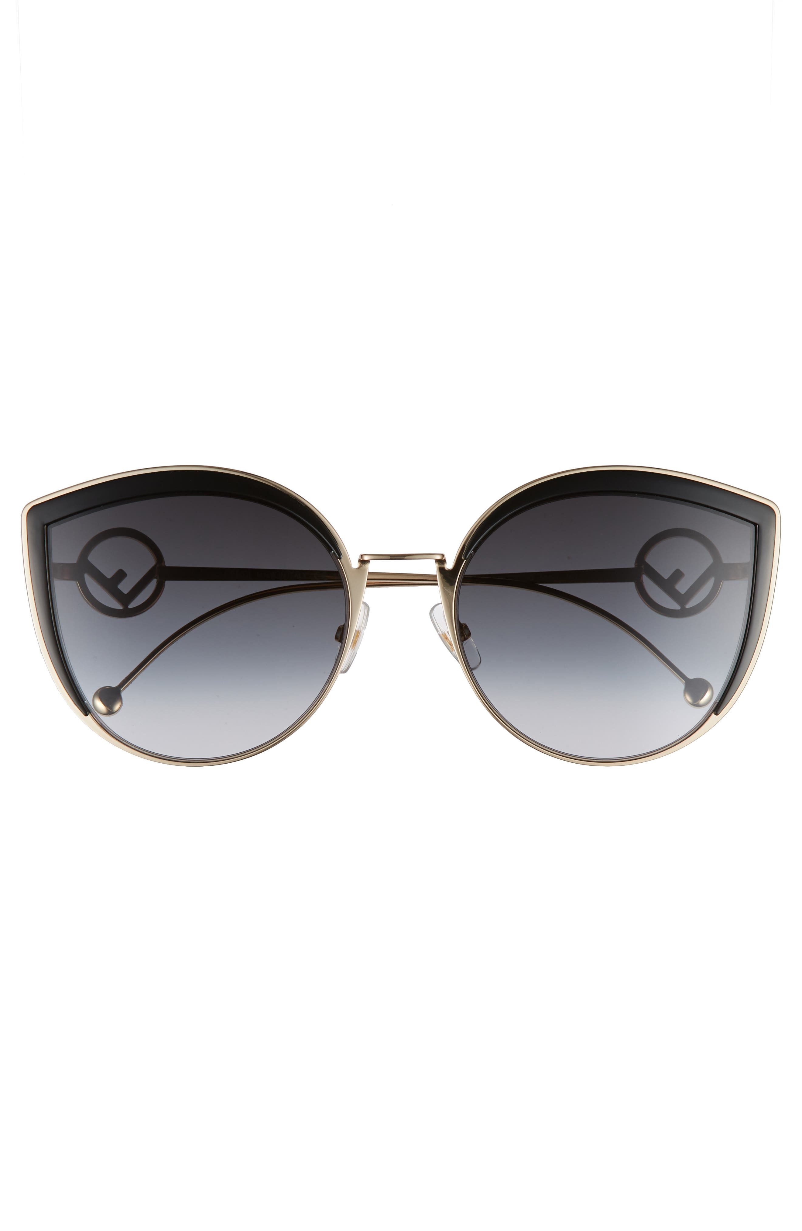 58mm Metal Butterfly Sunglasses,                             Alternate thumbnail 3, color,                             001