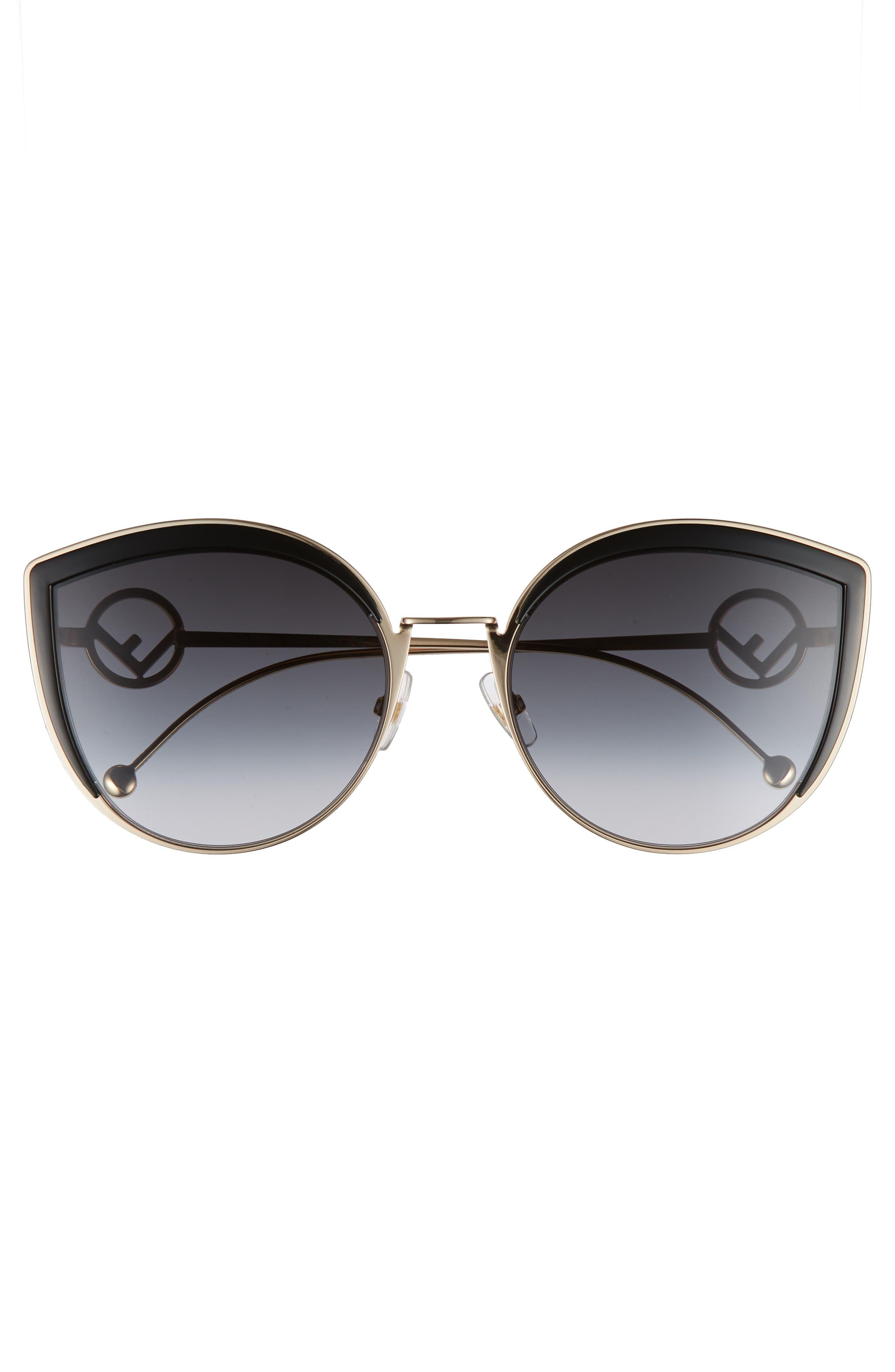 58mm Metal Butterfly Sunglasses,                             Alternate thumbnail 3, color,                             BLACK