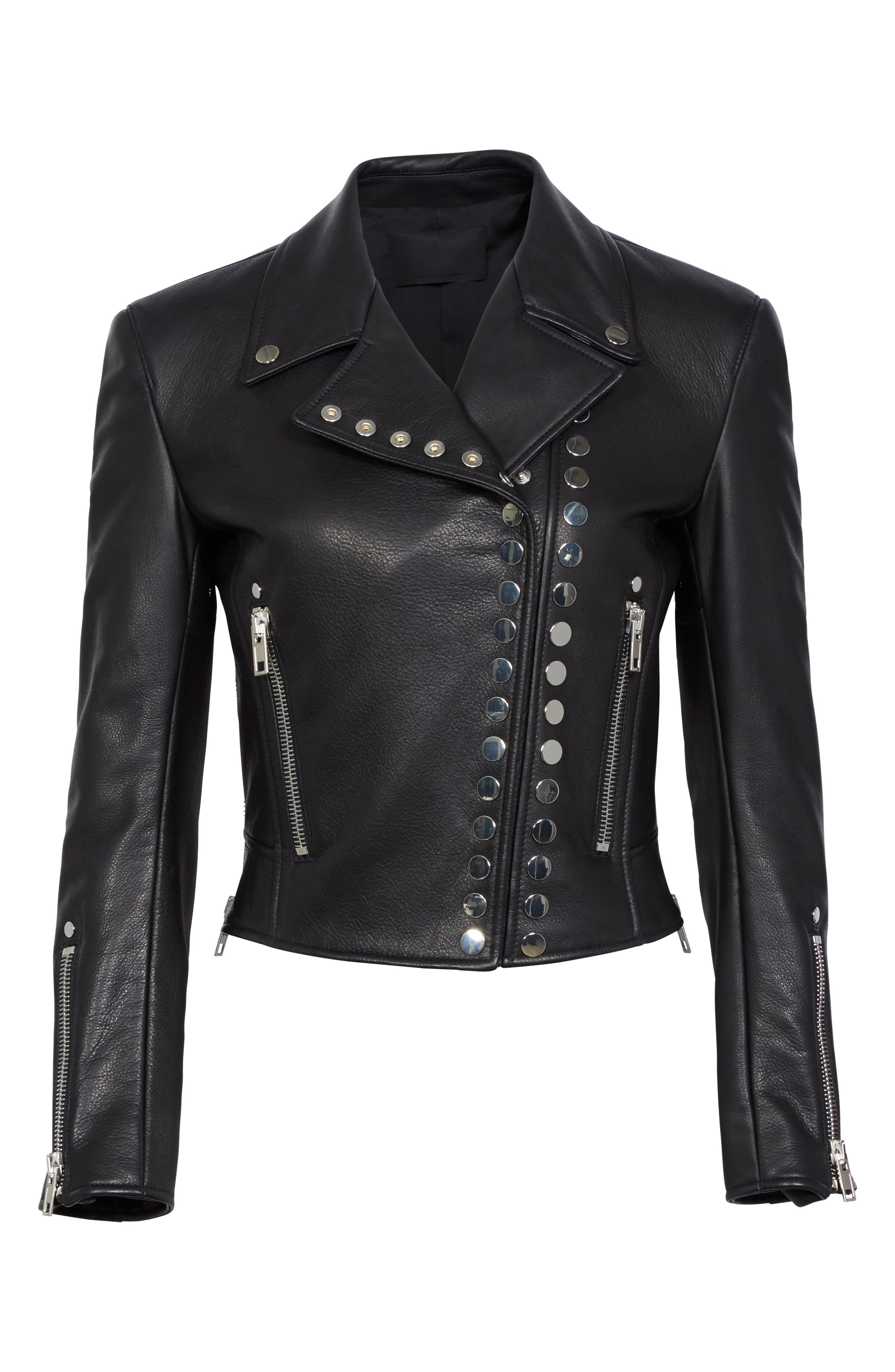 Snap Leather Moto Jacket,                             Alternate thumbnail 5, color,                             001
