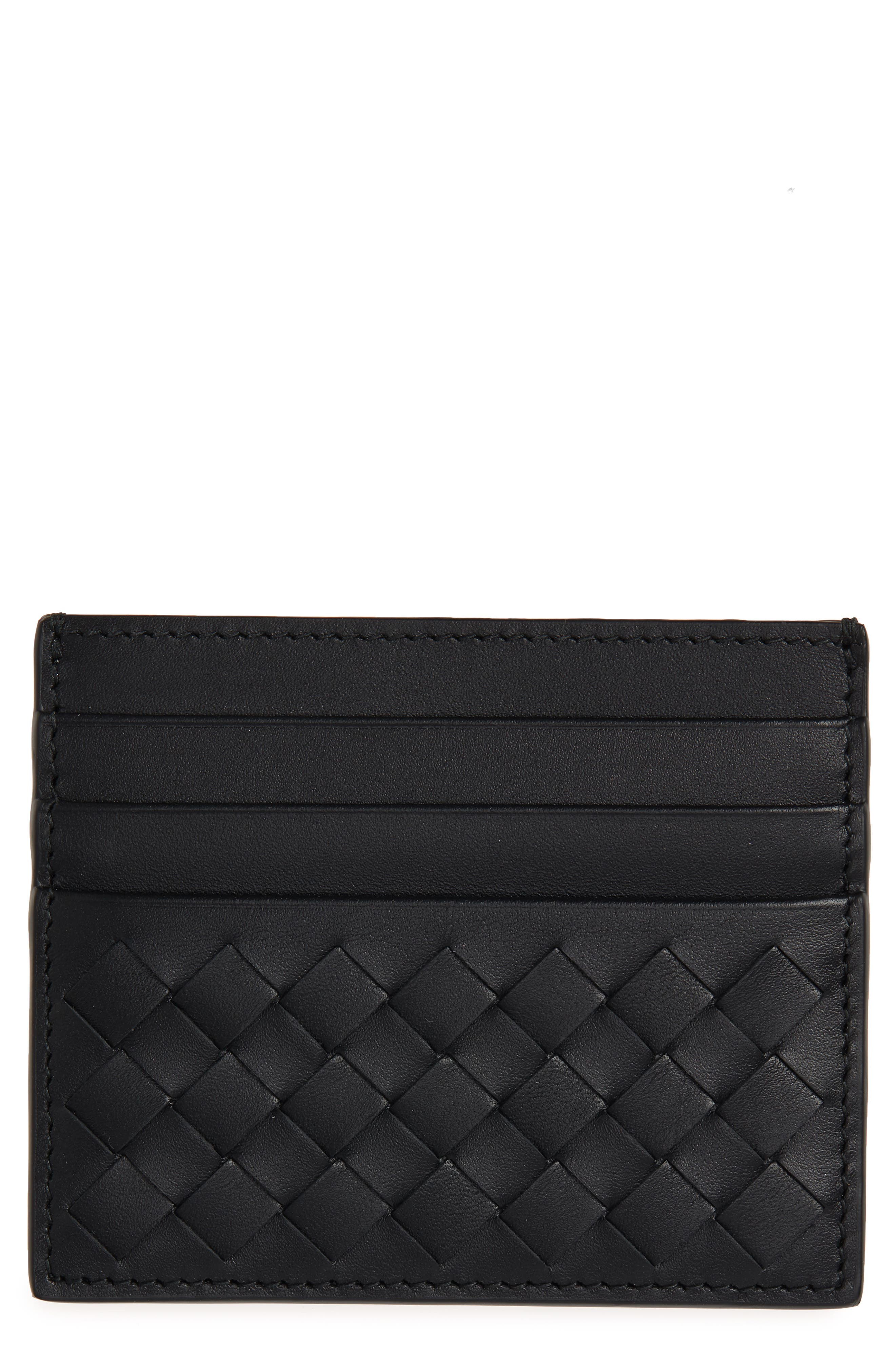 Woven Leather Card Case,                         Main,                         color, 1000 BLACK