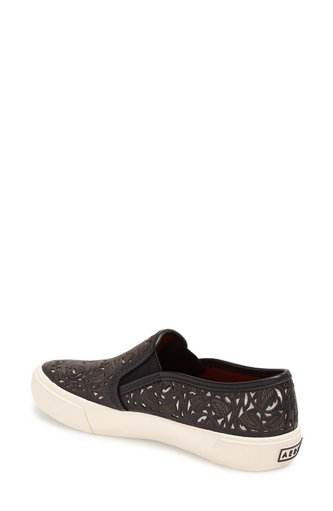 AERIN,                             'Marsden' Perforated Slip-On Sneaker,                             Alternate thumbnail 4, color,                             001