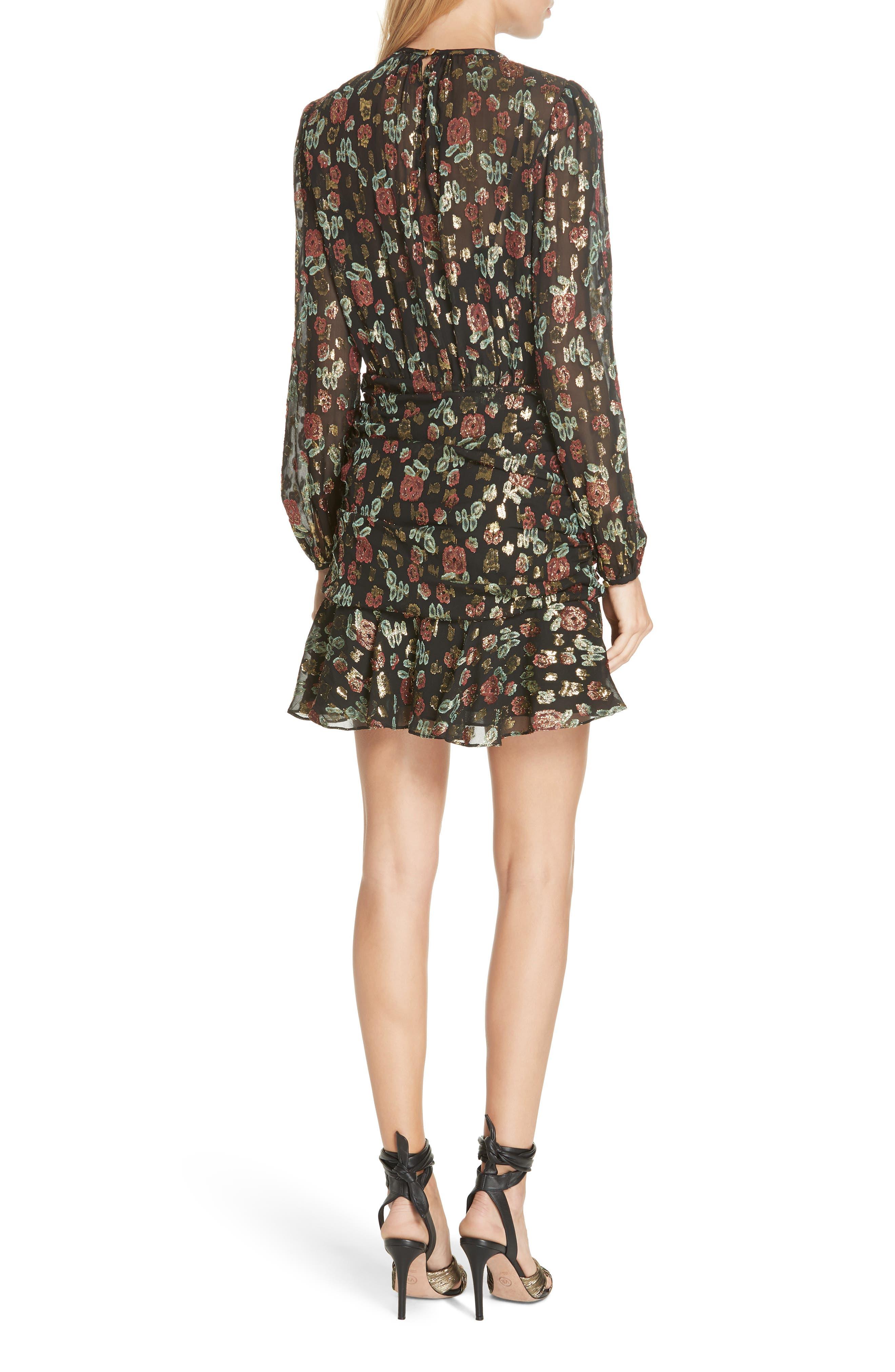Robin Silk Blend Jacquard Minidress,                             Alternate thumbnail 2, color,                             001