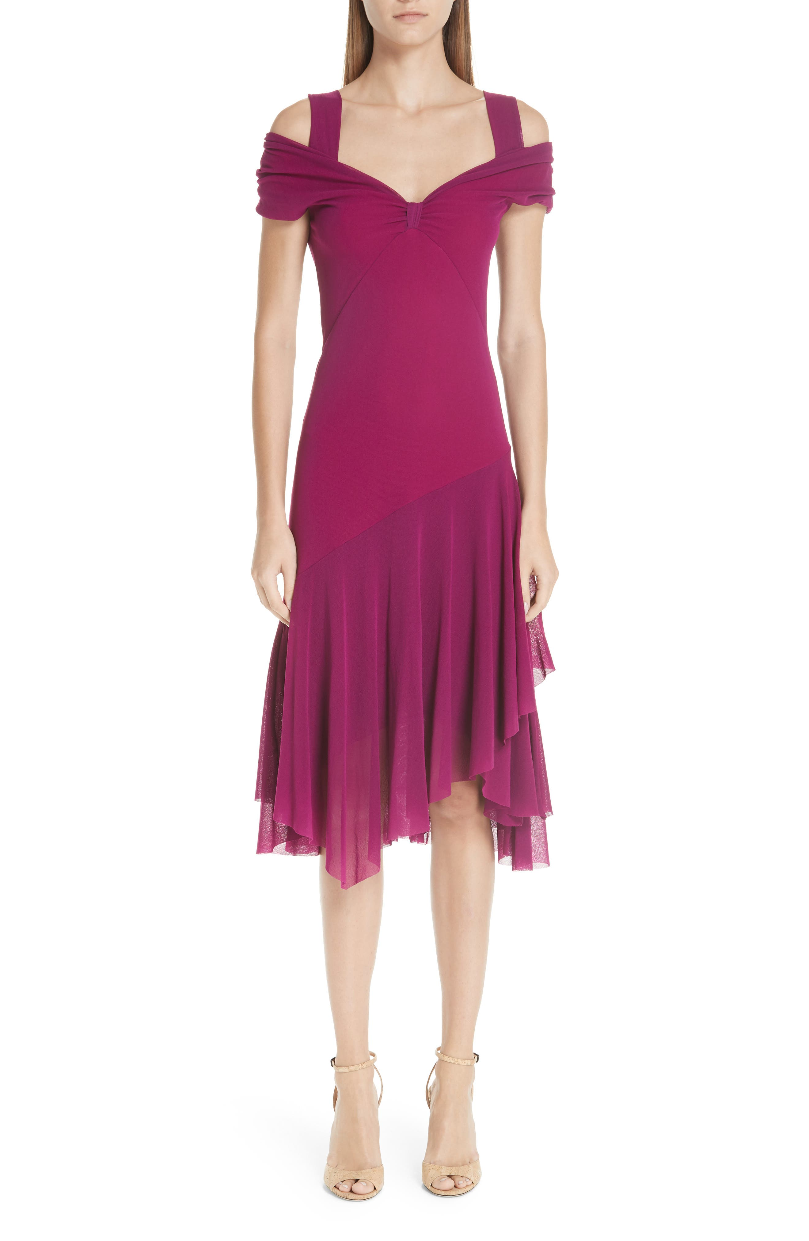 Fuzzi Ruffle Tulle Cold Shoulder Dress, Purple